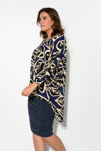 Mallory Navy Leaf Hi-Lo Batwing Top - Blue Bungalow