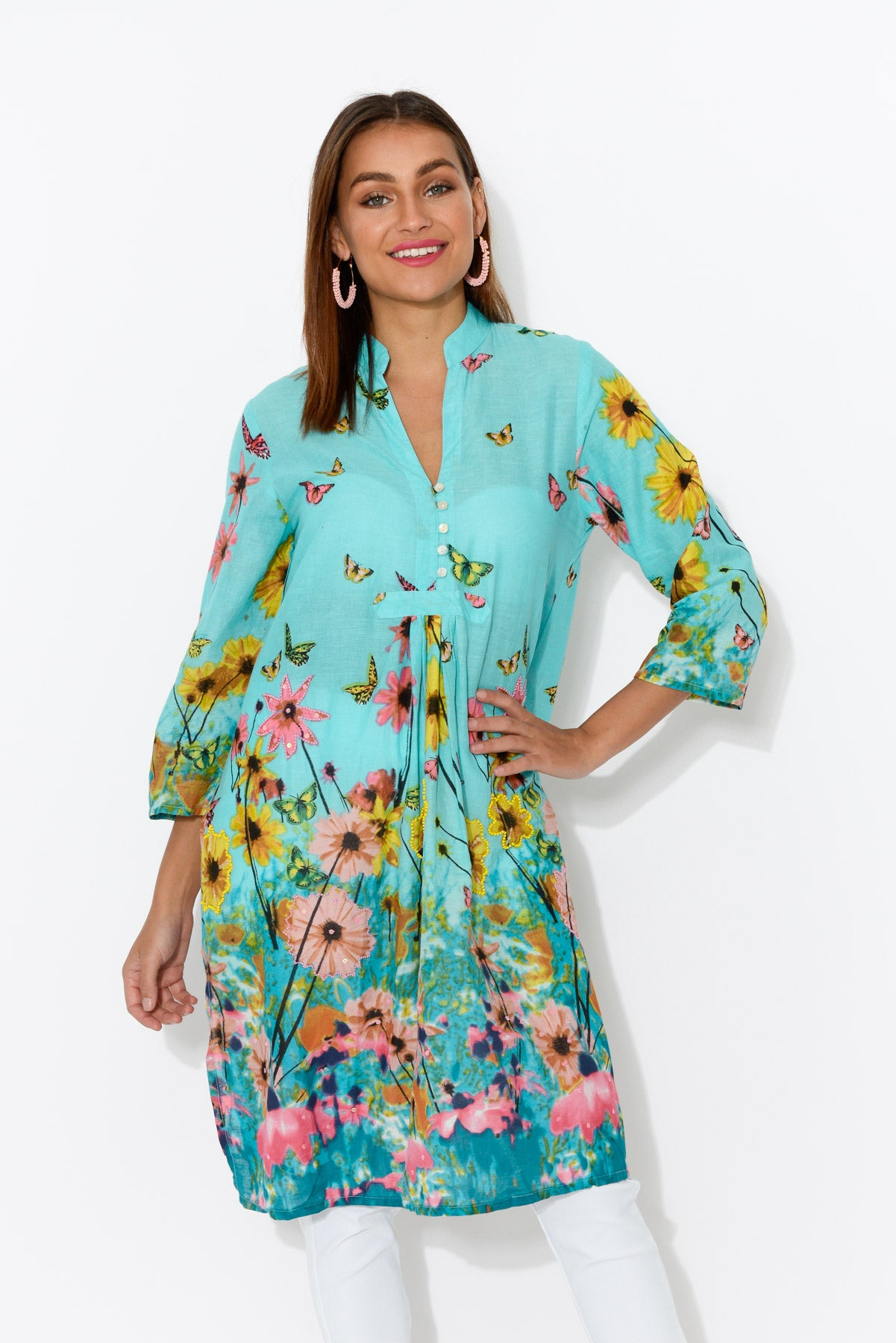 Malolo Blue Garden Sleeved Cotton Dress - Blue Bungalow