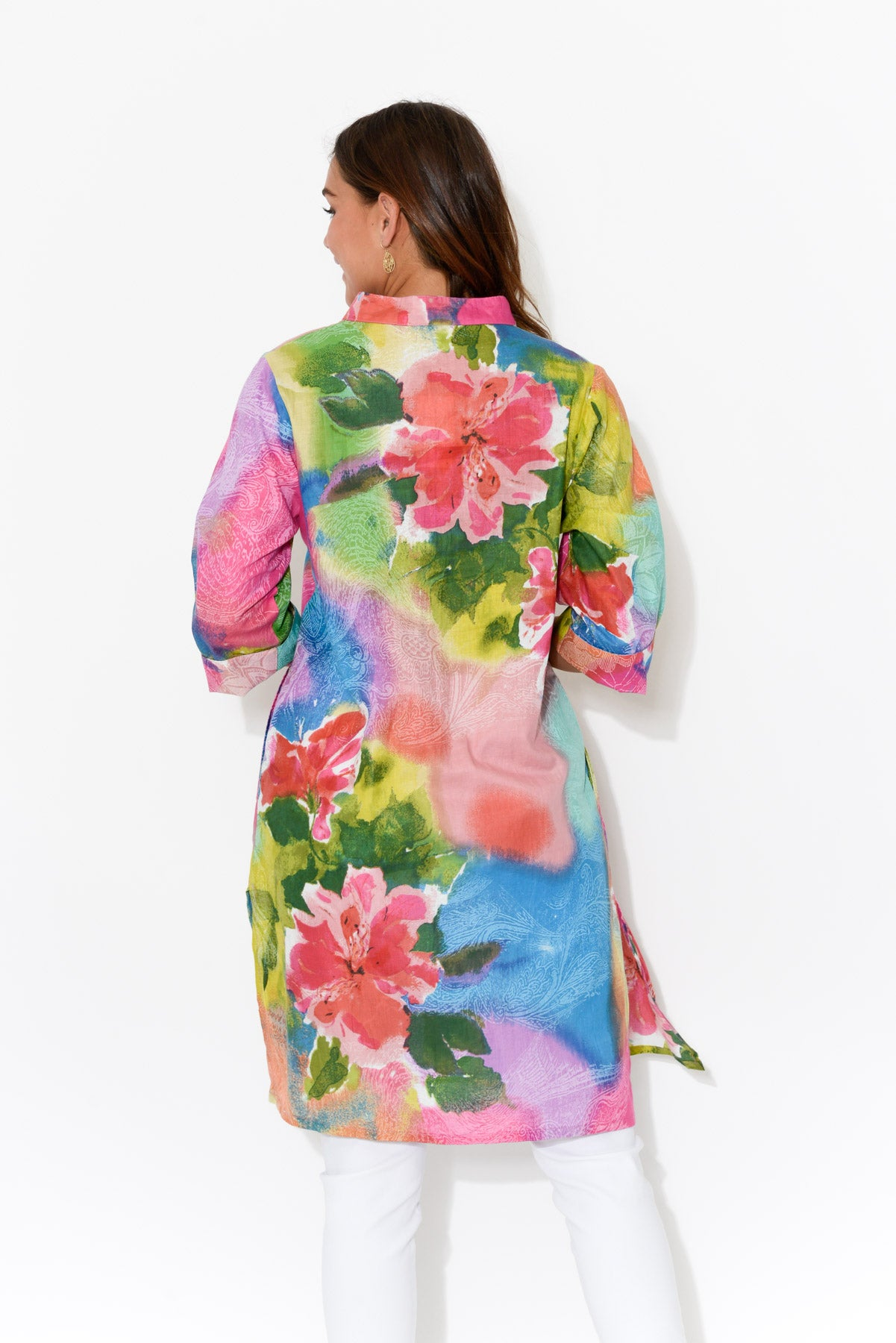 Malolo Pink Peony Sleeved Cotton Dress - Blue Bungalow