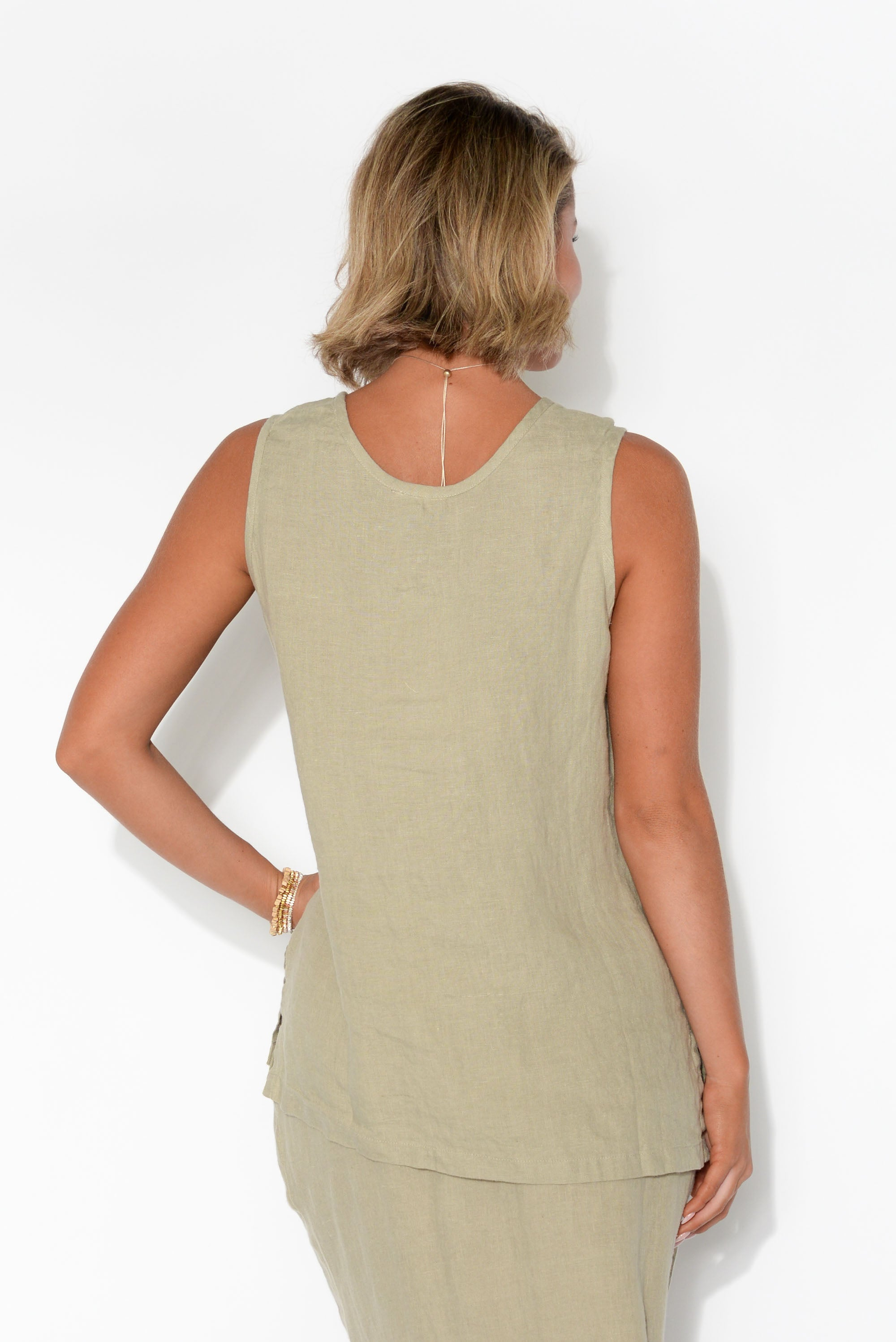 Mandalay Natural Linen Sleeveless Top
