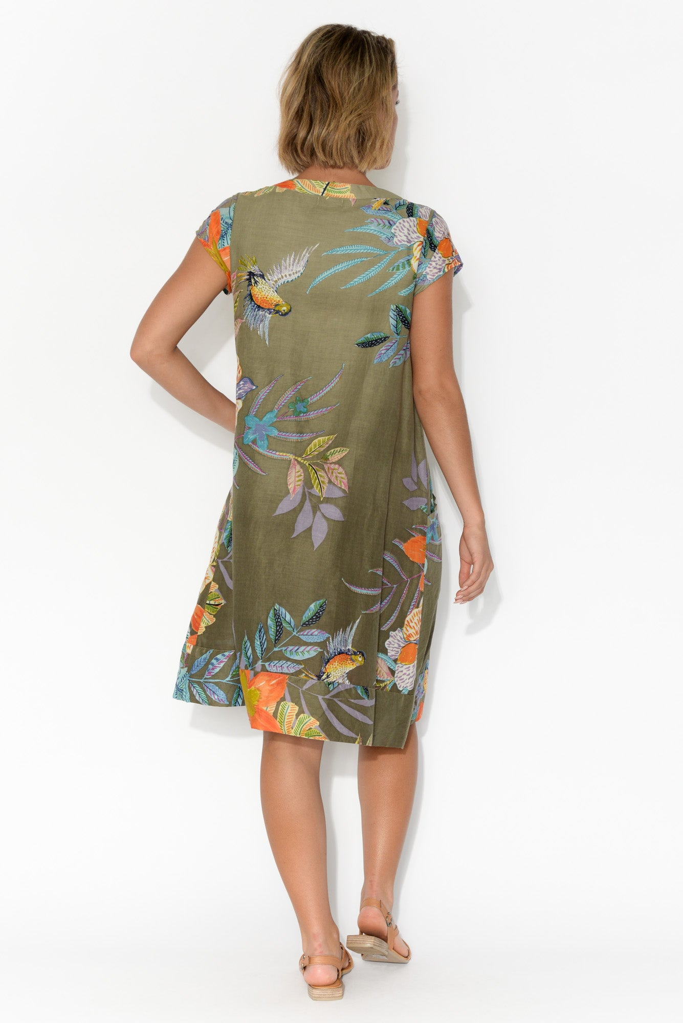 Marcoola Khaki Floral Cotton Pleat Dress