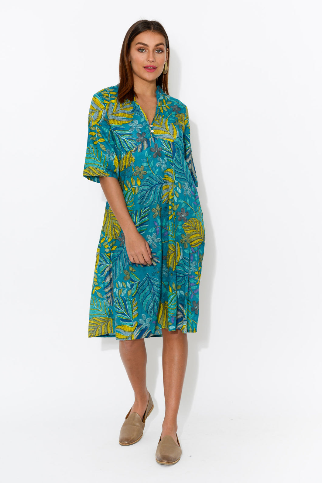 Mareeba Tropic Palm Sleeved Cotton Dress - Blue Bungalow