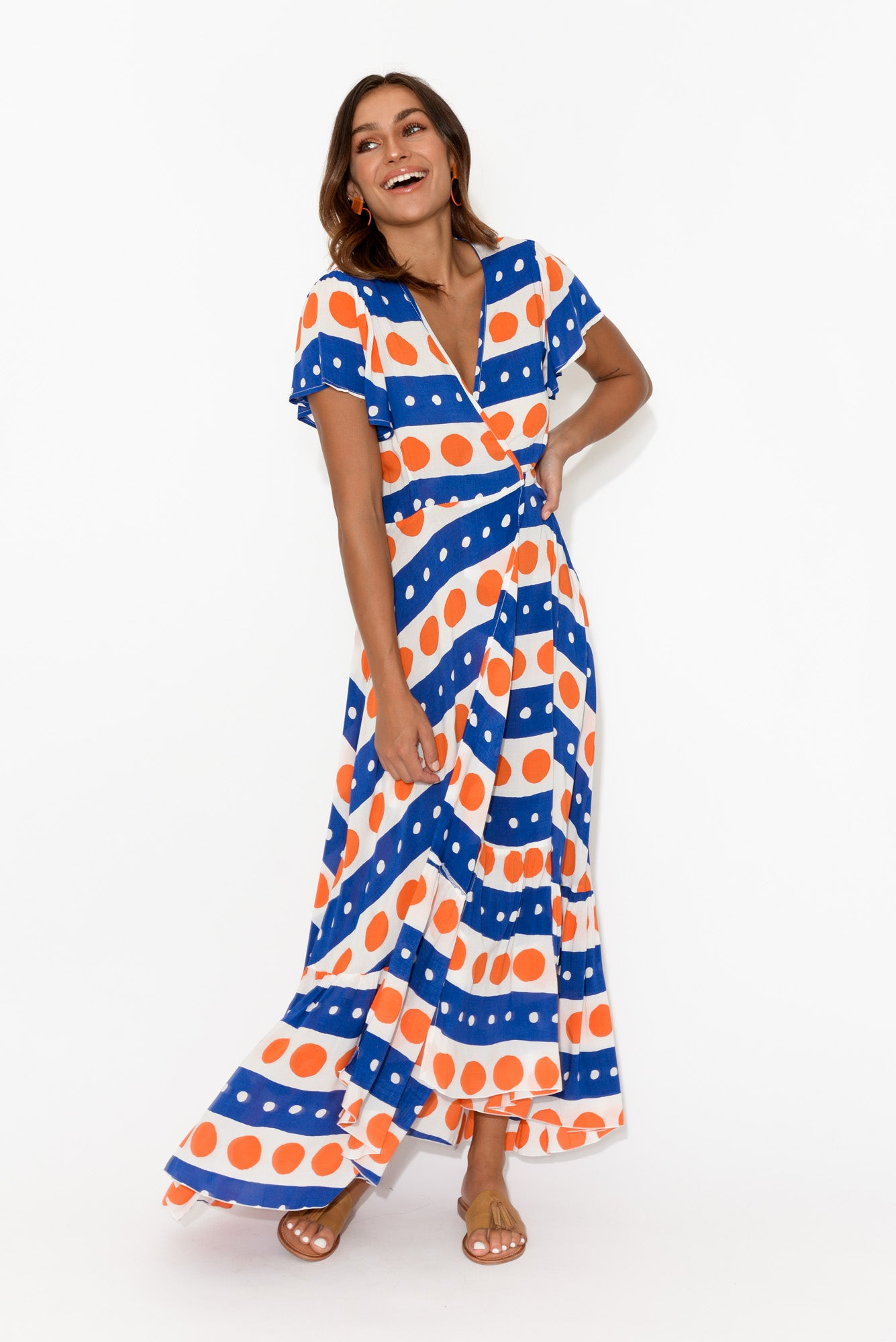 Margarita Navy Spot Maxi Dress