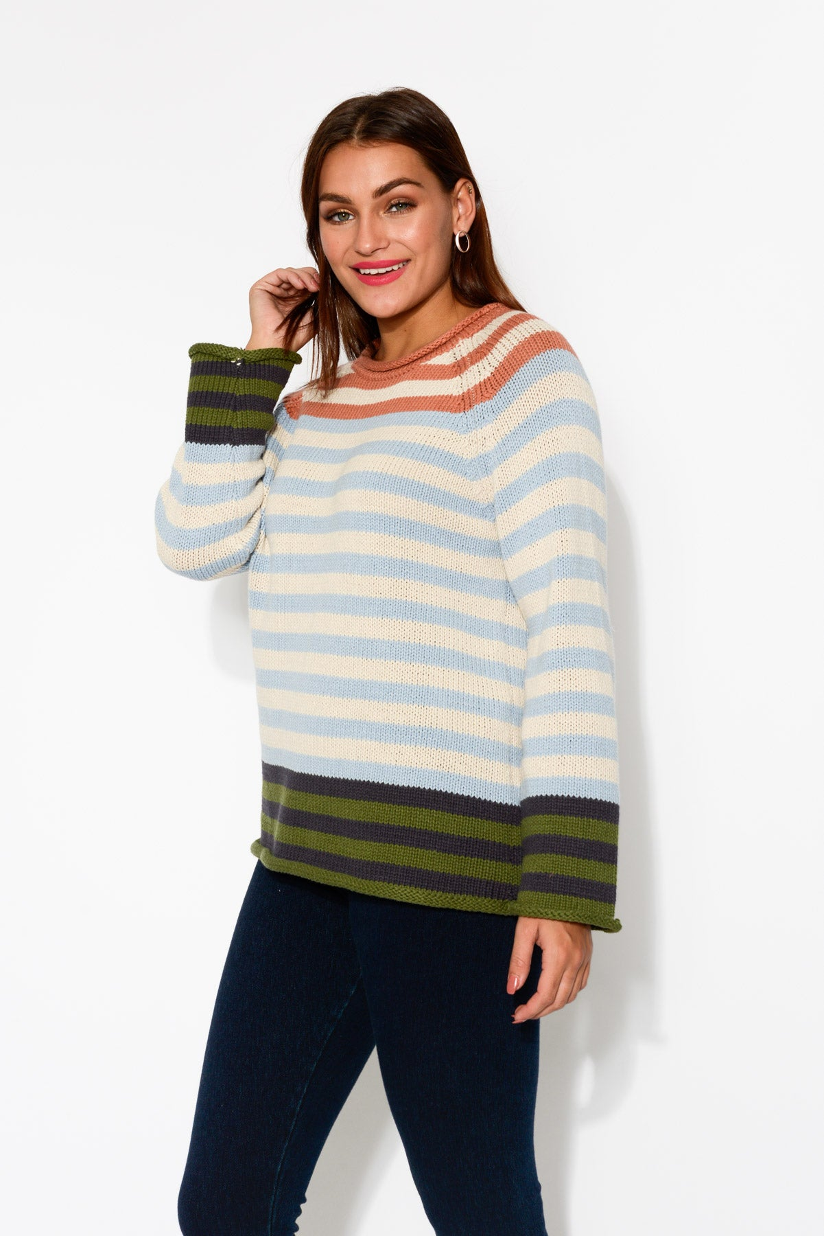 Margo Blue Stripe Knit Jumper - Blue Bungalow