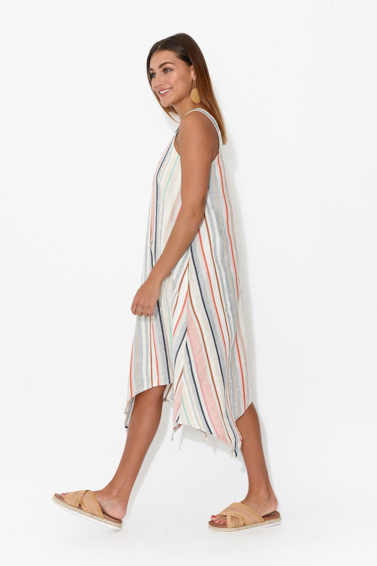 Marina Stripe Pinafore Dress - Blue Bungalow