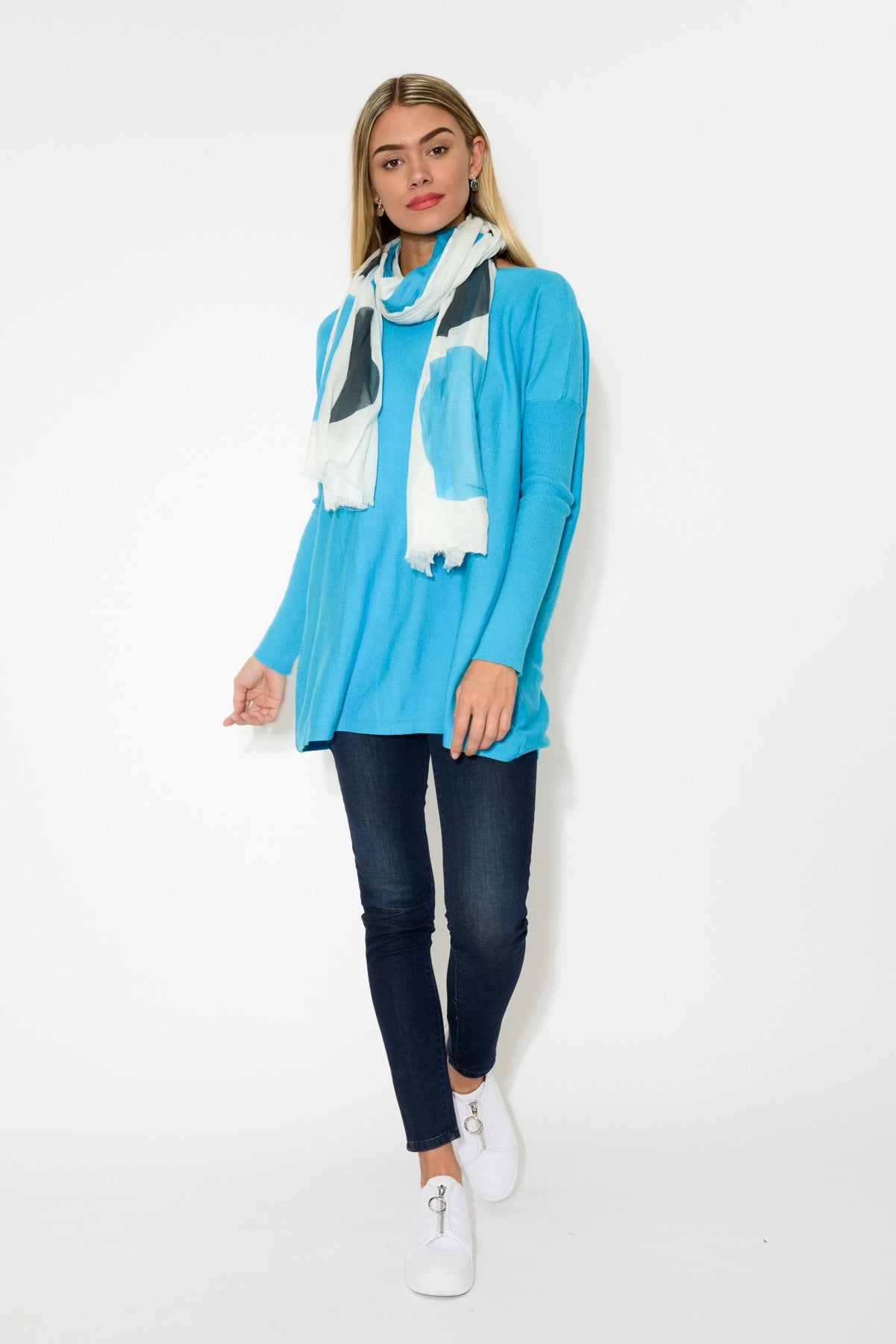 Marnie Blue Drape Jumper - Blue Bungalow