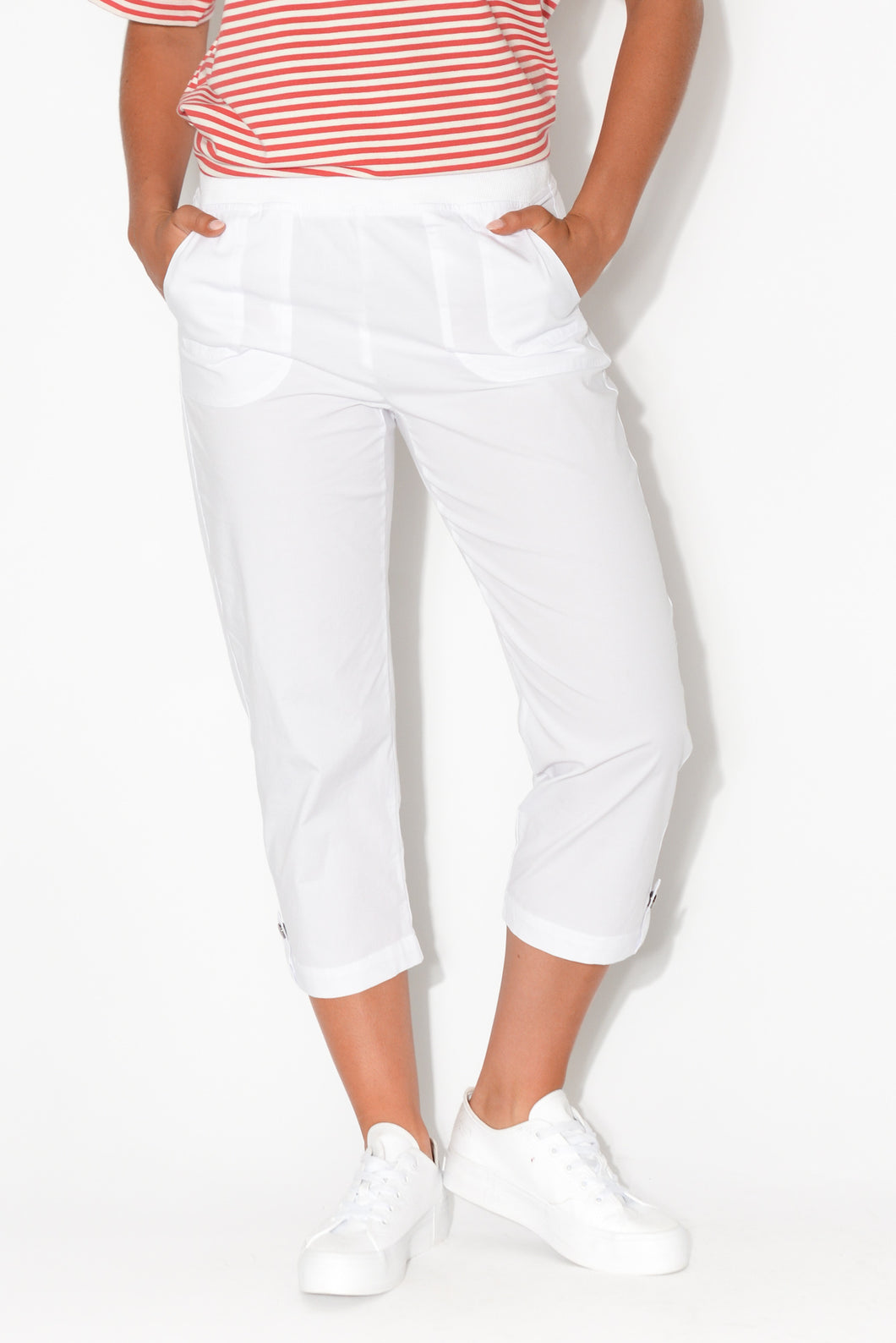 Marta White Cotton 3/4 Pant