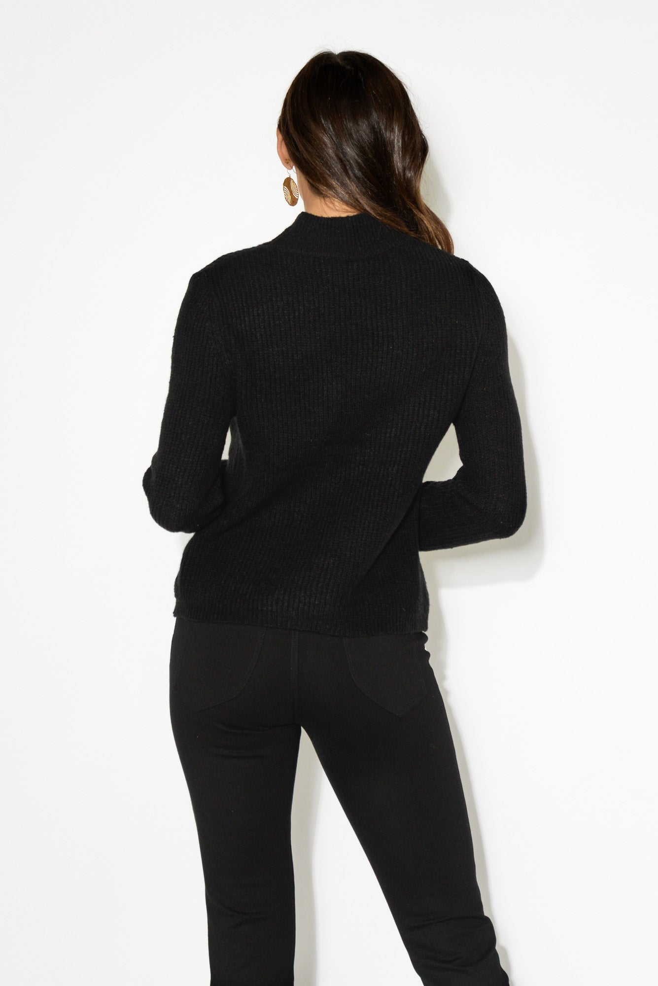 Marty Black Turtleneck Knit Top