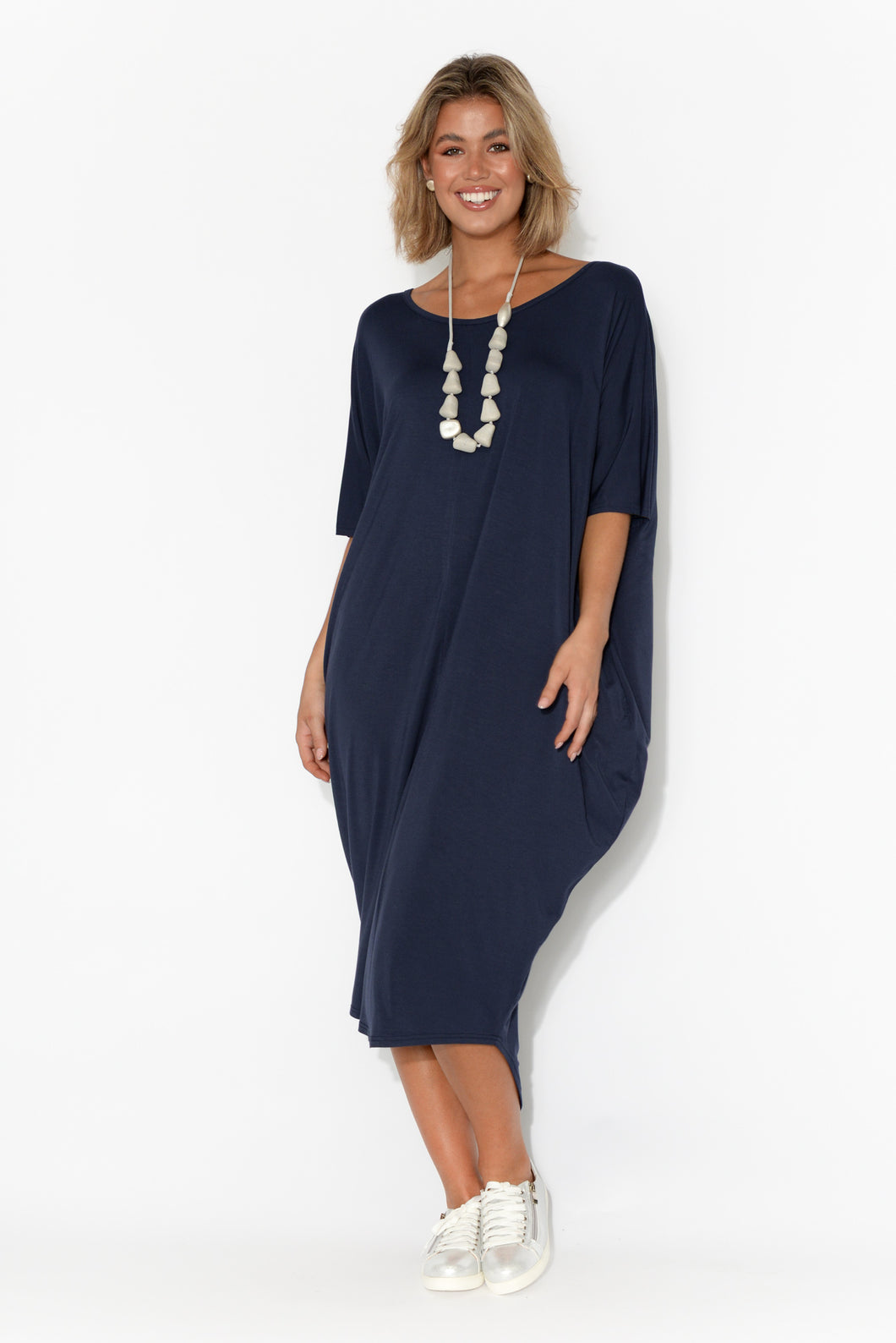 Mary Navy Bamboo Batwing Dress