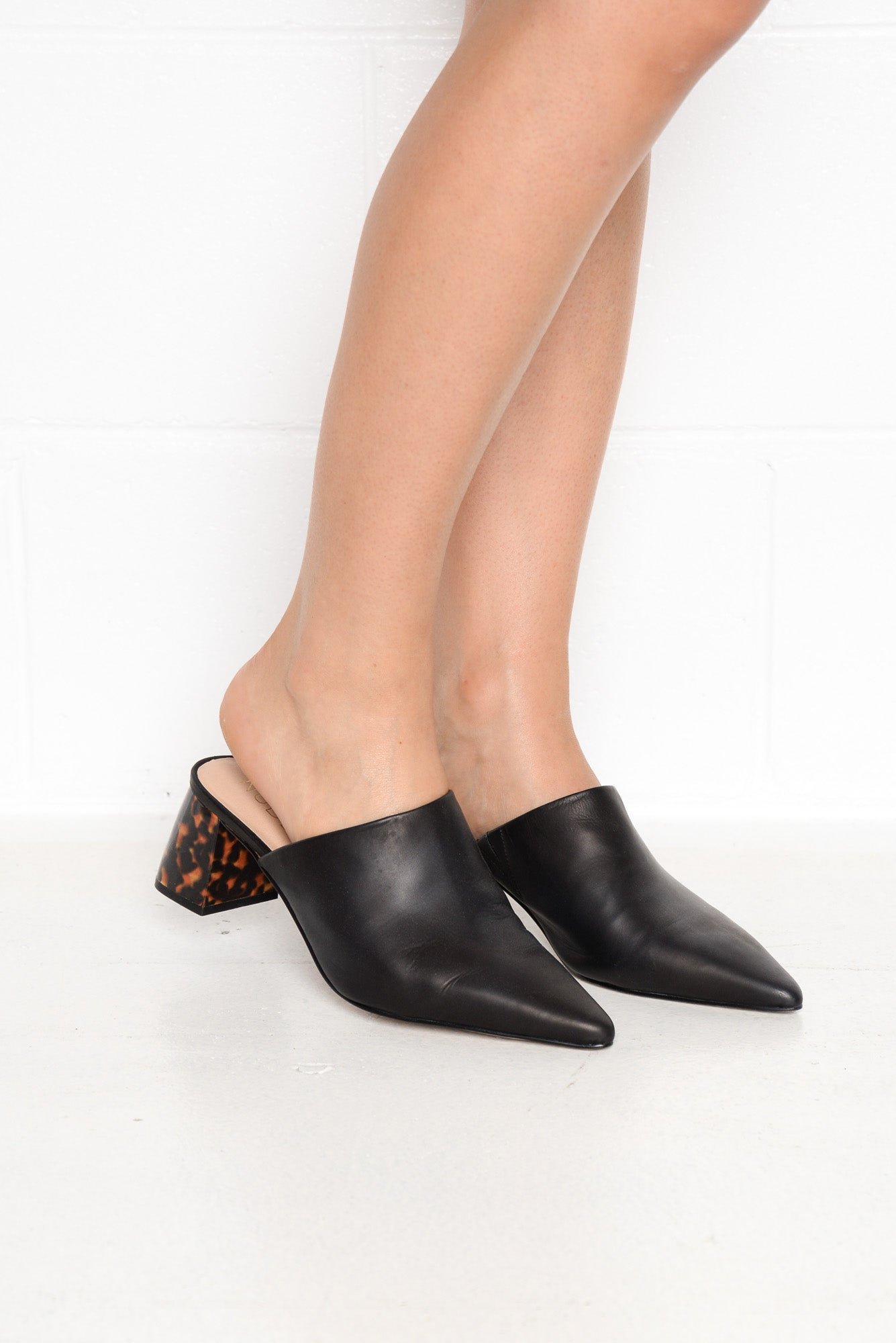 Mavis Black Leather and Tortoiseshell Heel