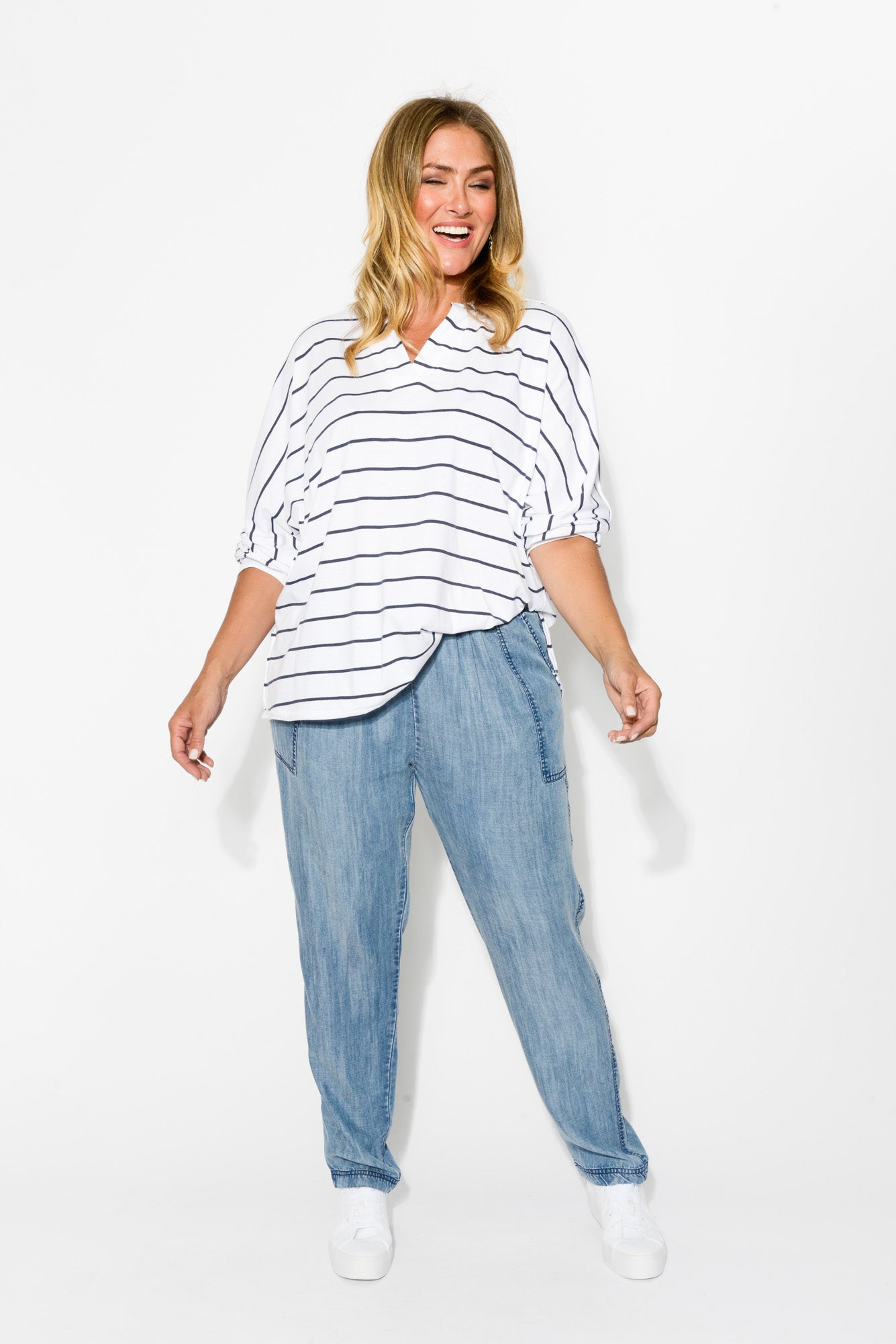 Maya Navy Stripe Bamboo Cotton Top - Blue Bungalow