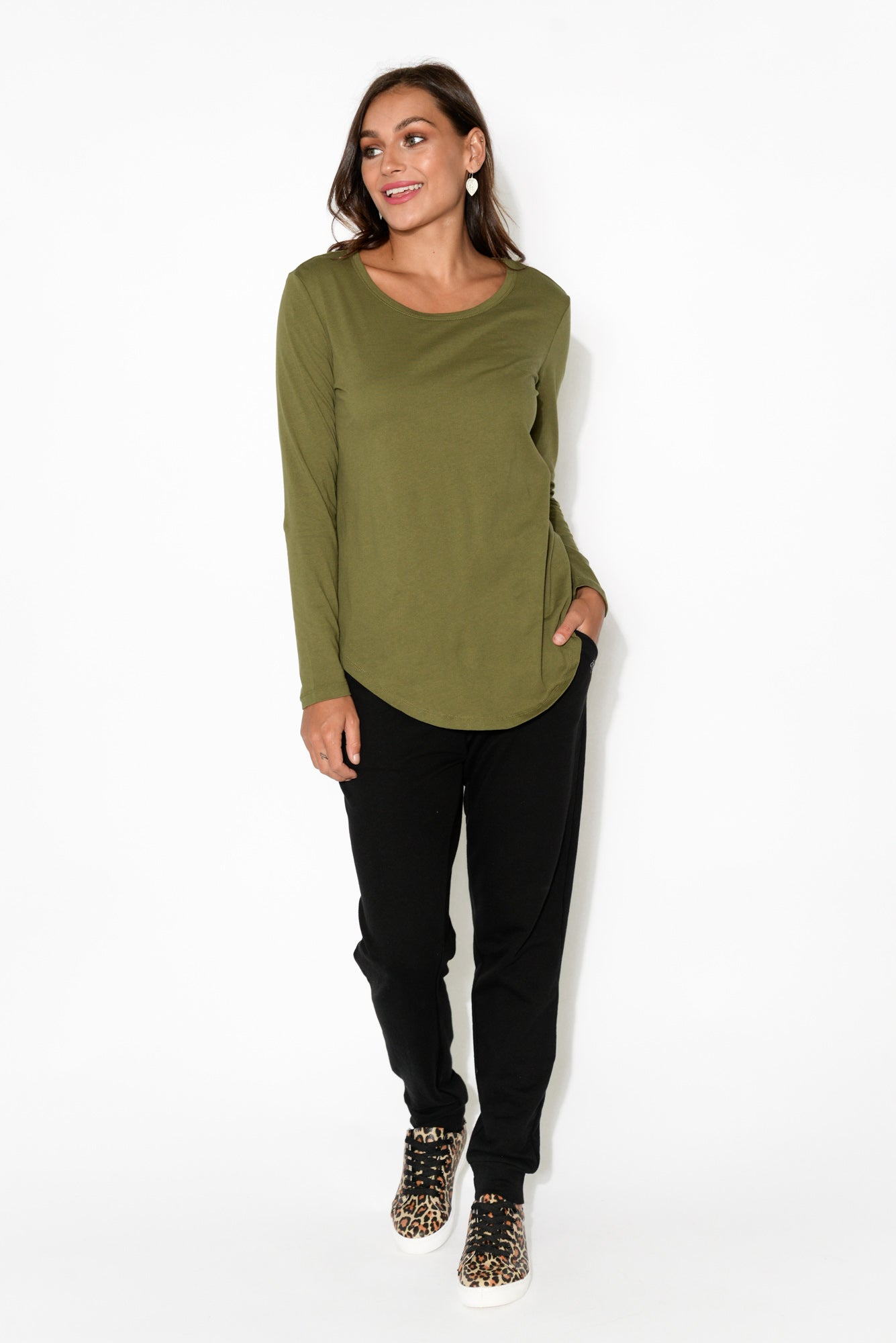 Megan Khaki Cotton Long Sleeve Top