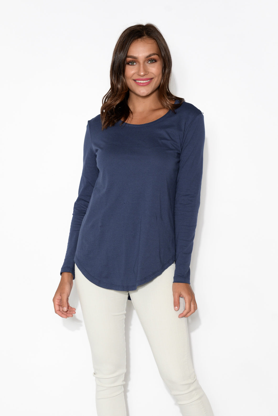 Megan Navy Cotton Long Sleeve Top