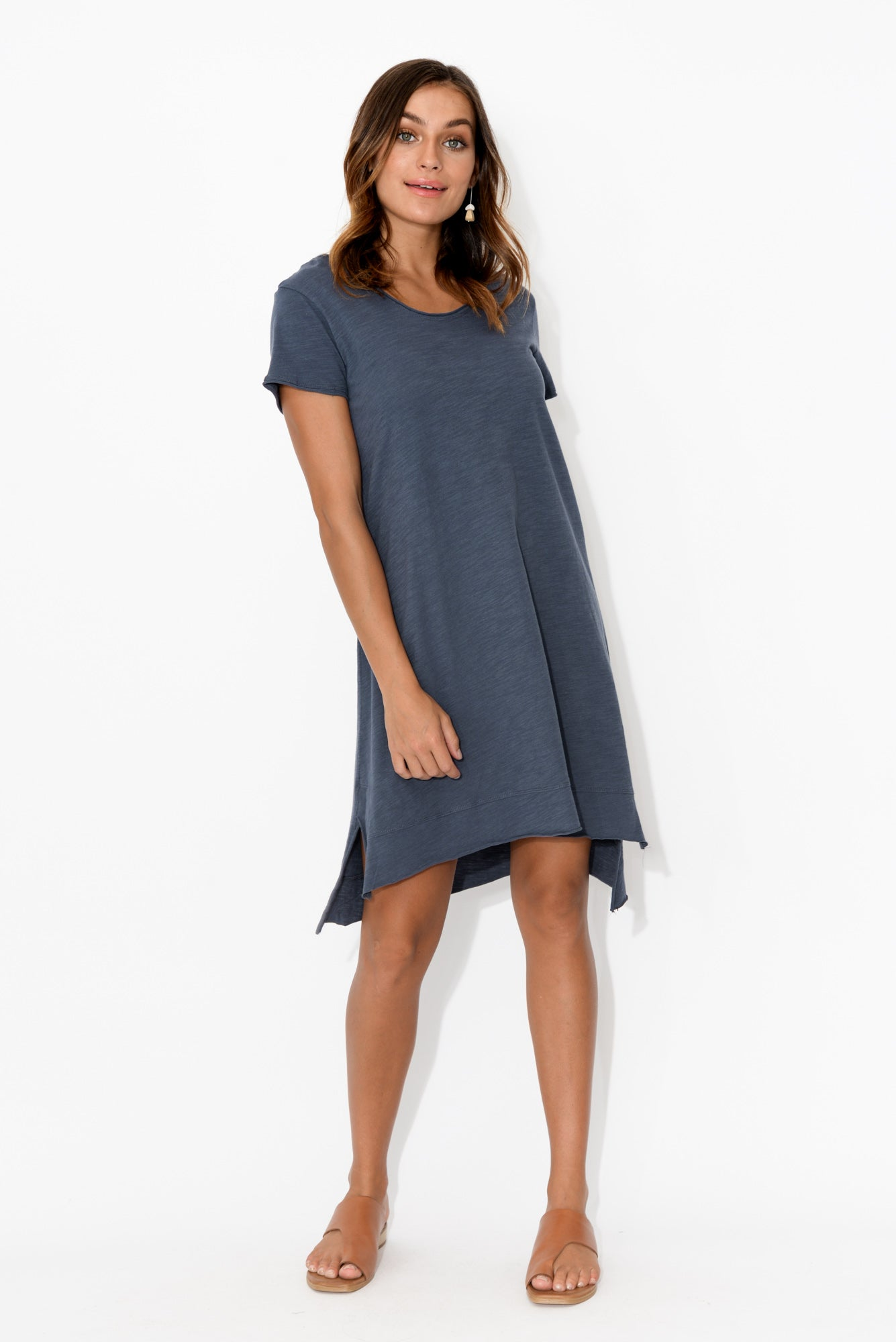 Megan Navy Asymmetrical Cotton Dress