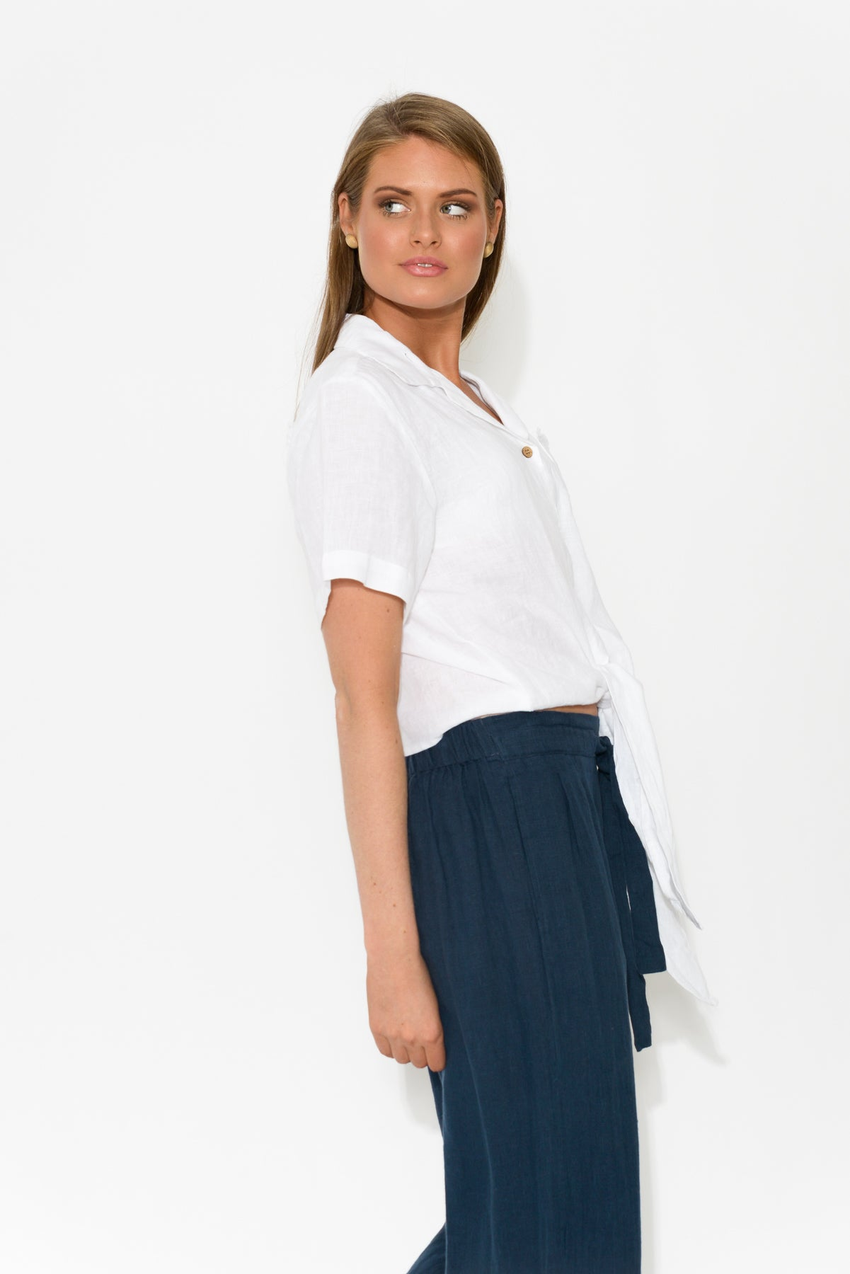 Mellah White Linen Shirt - Blue Bungalow