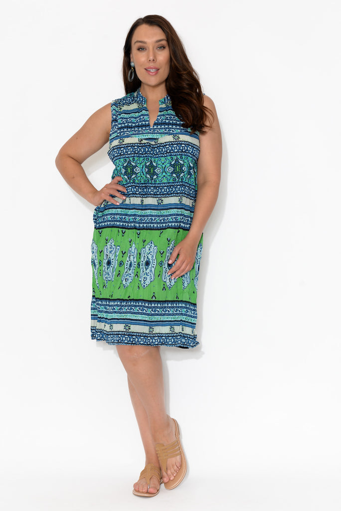 Meno Blue Crinkle Cotton Tank Dress