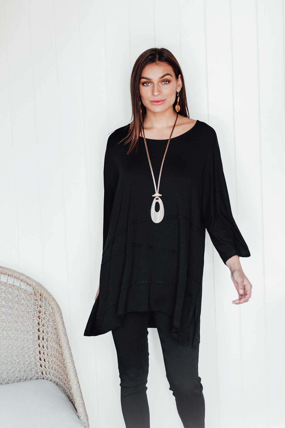 Meredith Black Tiered Seam Top