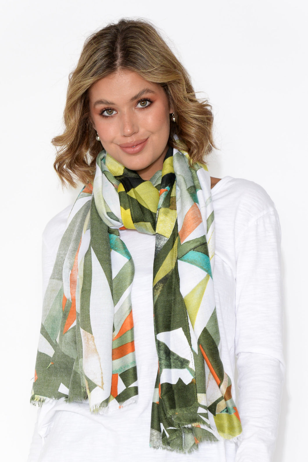 Meri Green Abstract Triangle Scarf