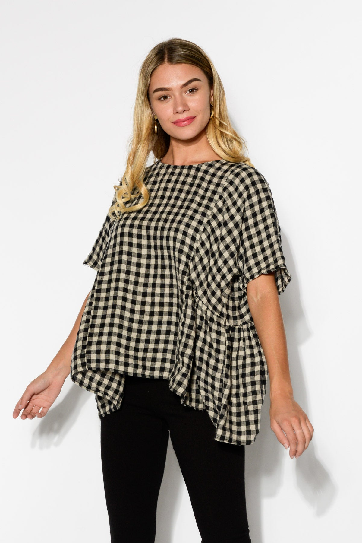 Mia Linen Beige Checked Top - Blue Bungalow