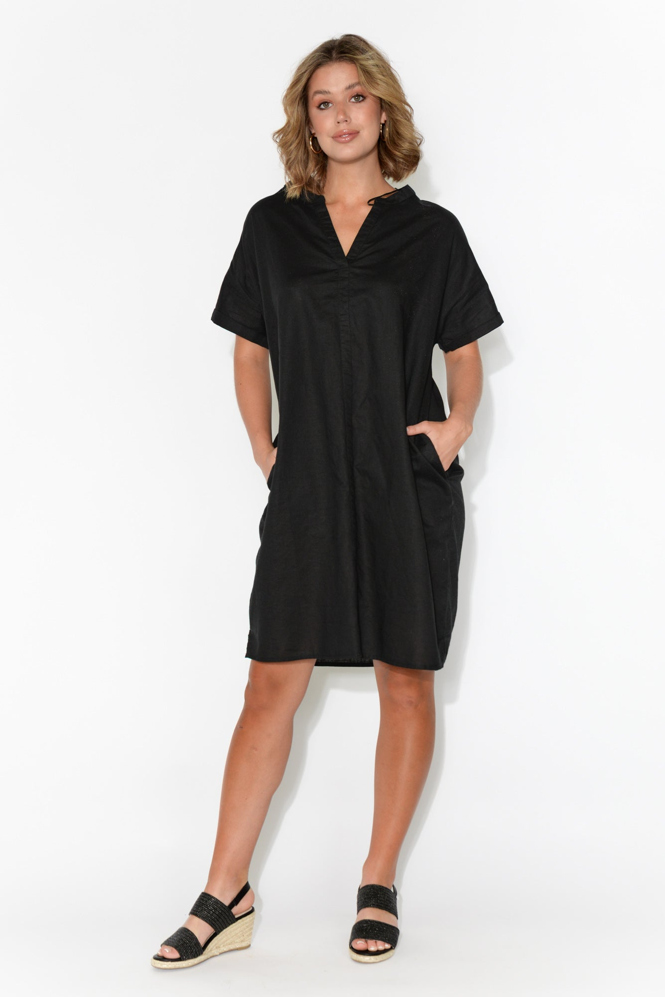Mika Black Linen V Split Dress