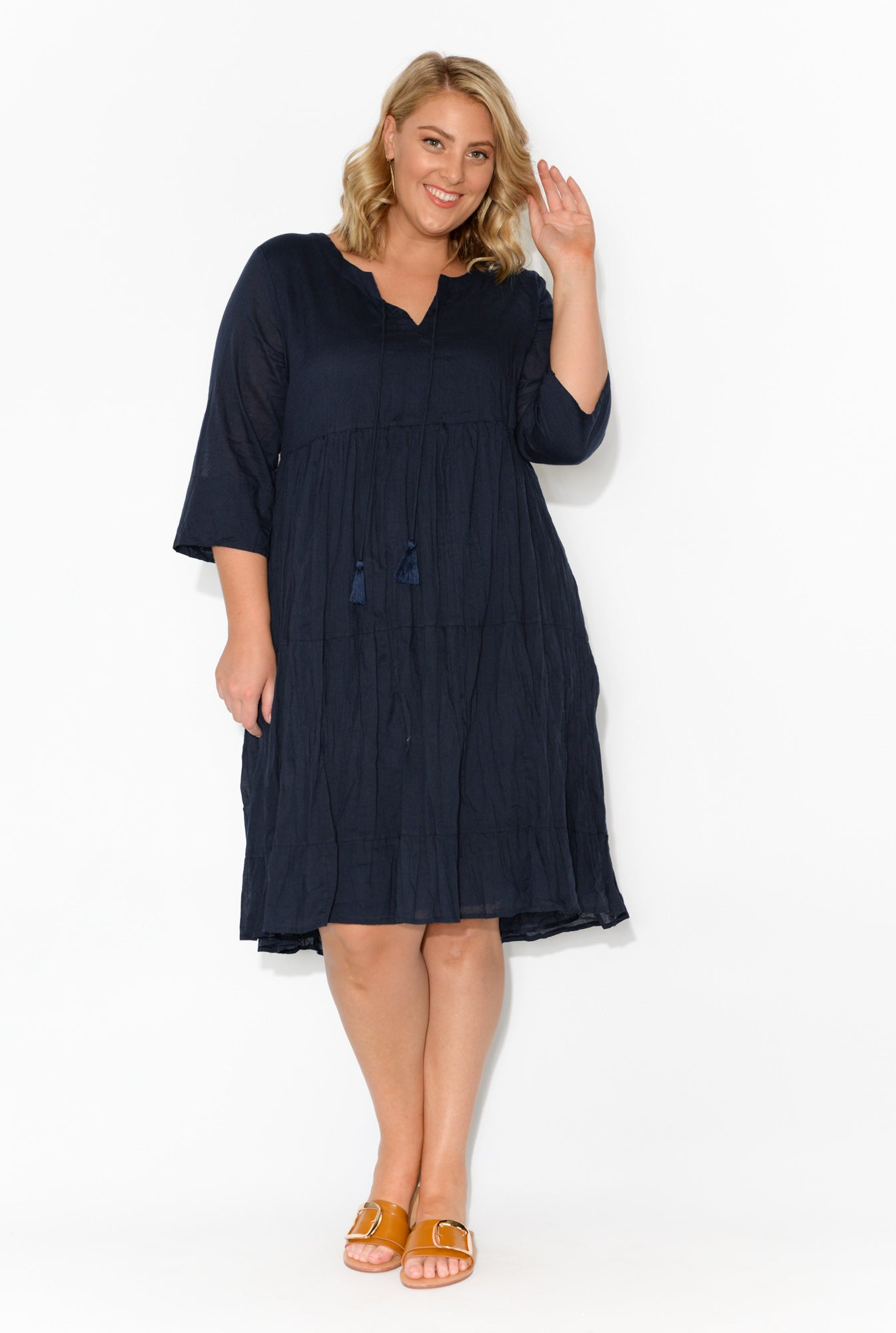 Milana Navy Crinkle Cotton Dress
