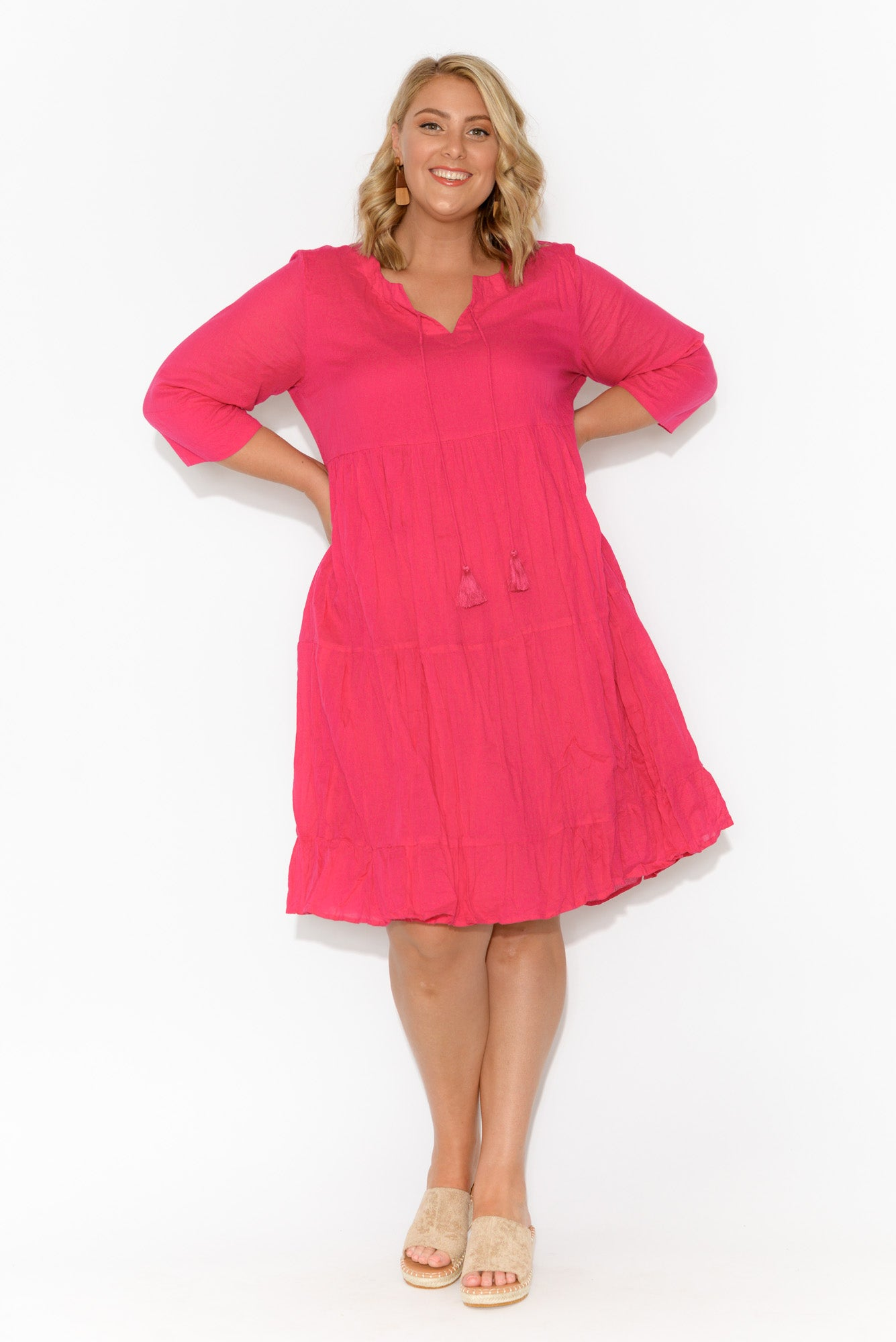 Milana Pink Crinkle Cotton Dress