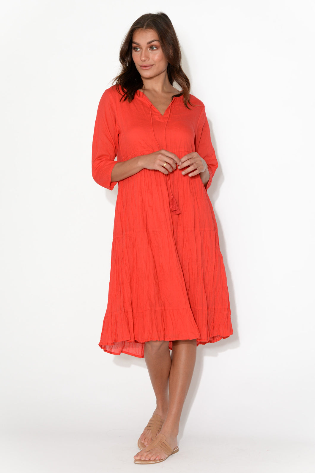 Milana Red Crinkle Cotton Dress