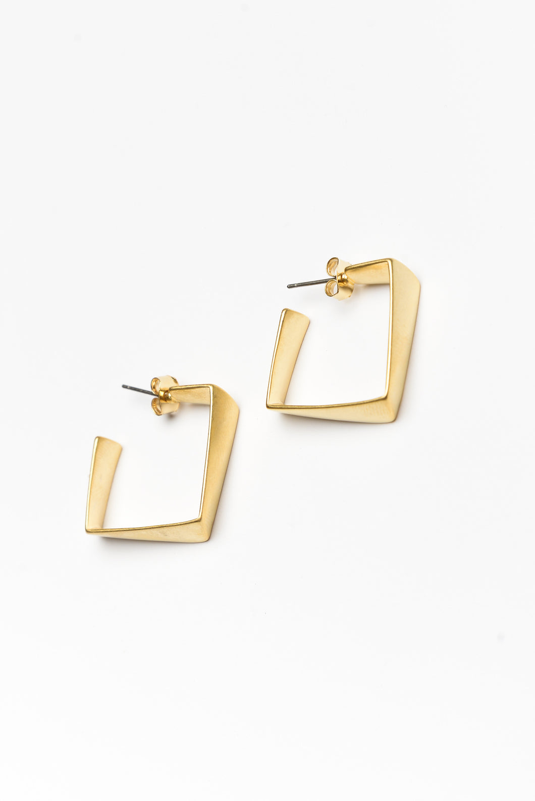 Mira Gold Square Twisted Hoops