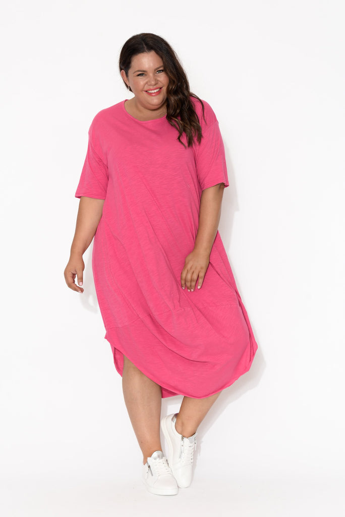 Mita Pink Cotton Slub Scoop Dress