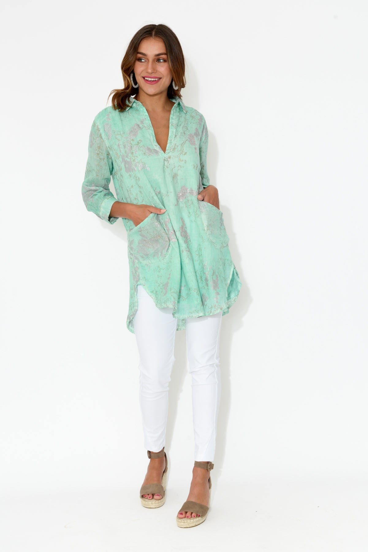 Molly Mint Embroidered Cotton Tunic