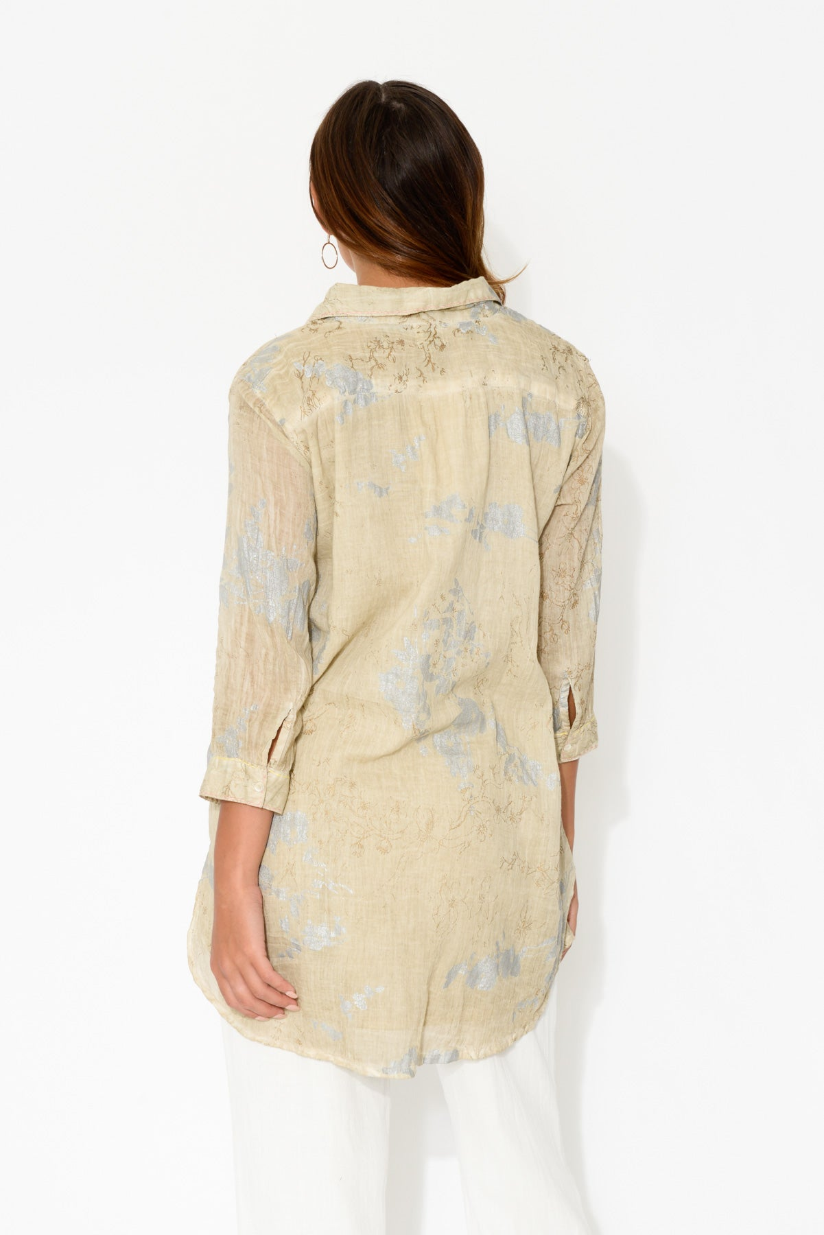 Molly Taupe Embroidered Cotton Tunic