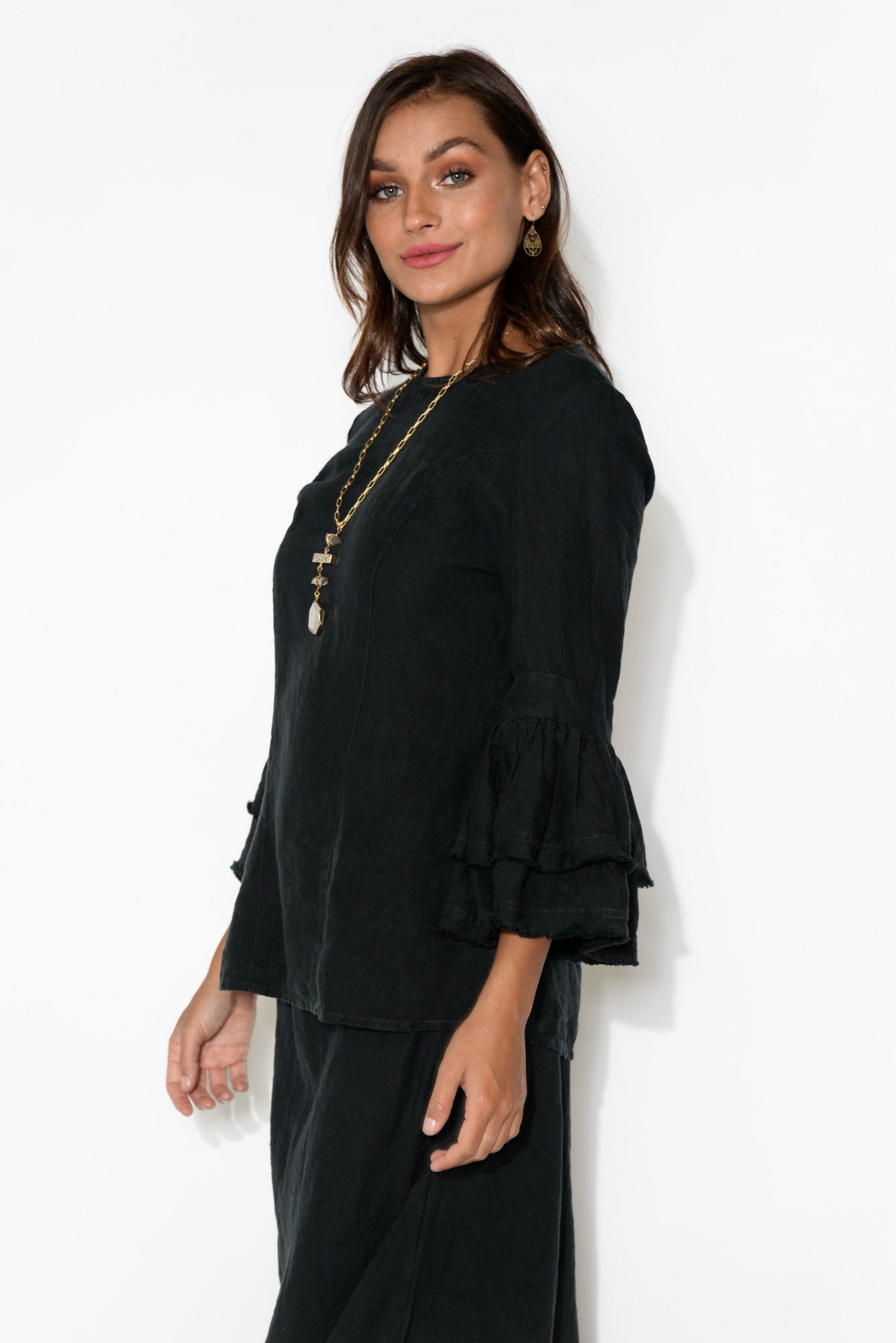 Momo Black Frill Sleeve Linen Top