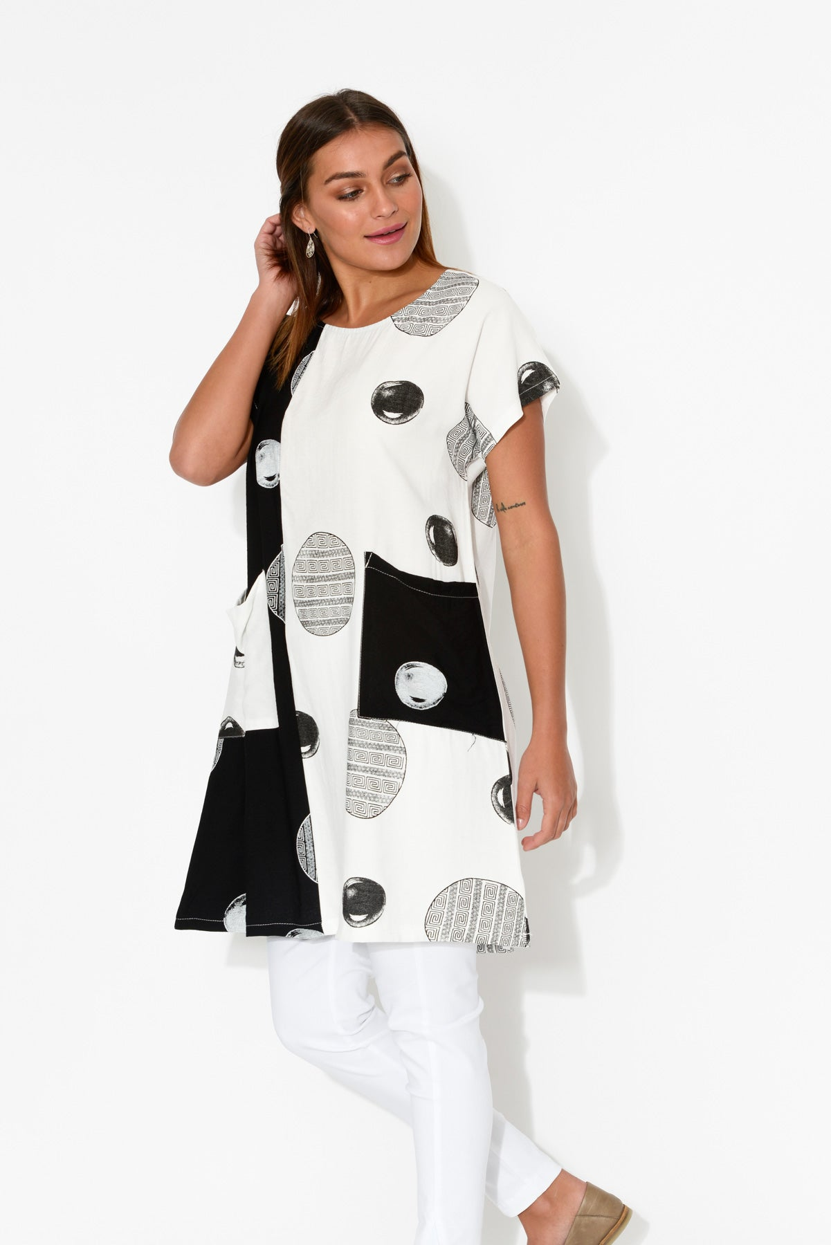 Monochrome Spot Pocket Dress - Blue Bungalow