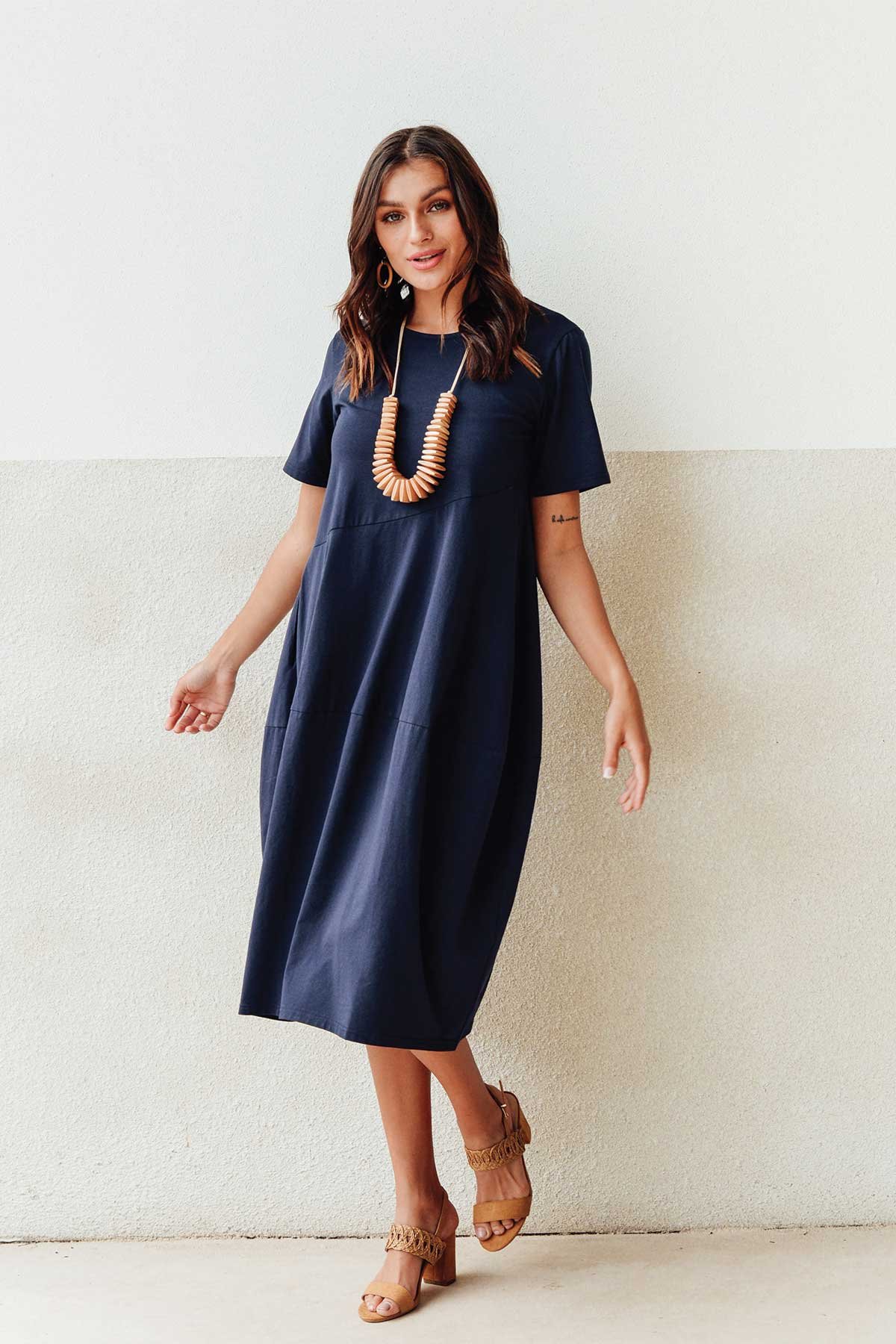 Morgan Navy Diagonal Seam Dress