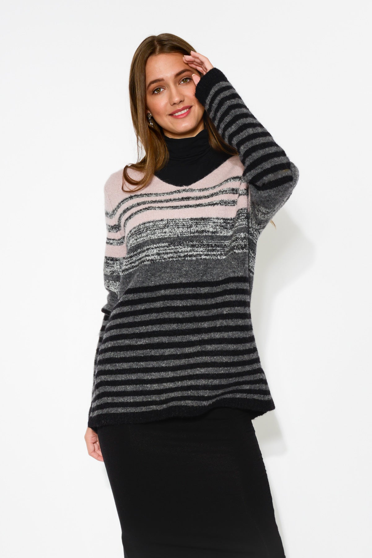 Multi Grey Stripe Knit Jumper - Blue Bungalow