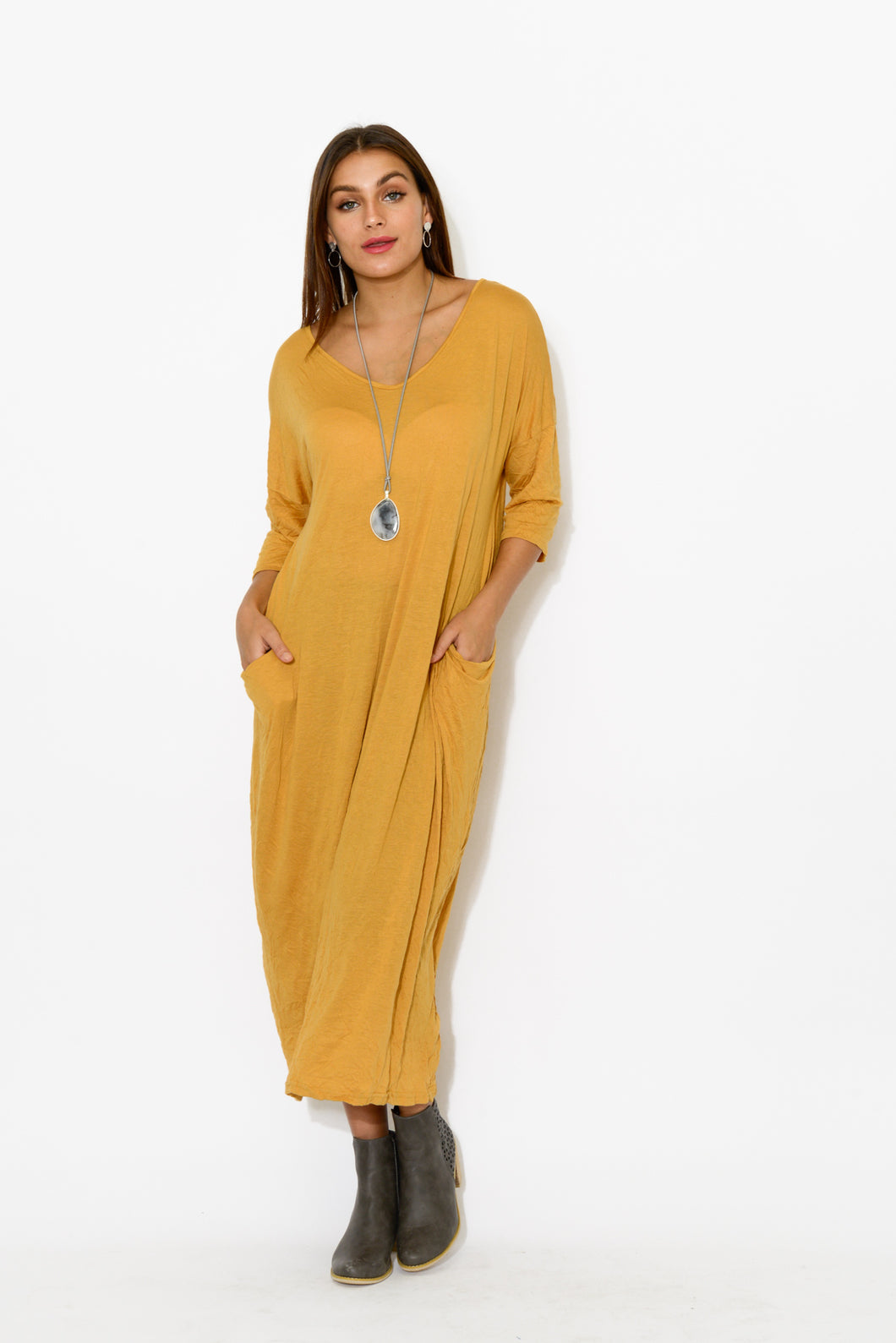 Mustard Sleeved Pocket Cotton Dress - Blue Bungalow