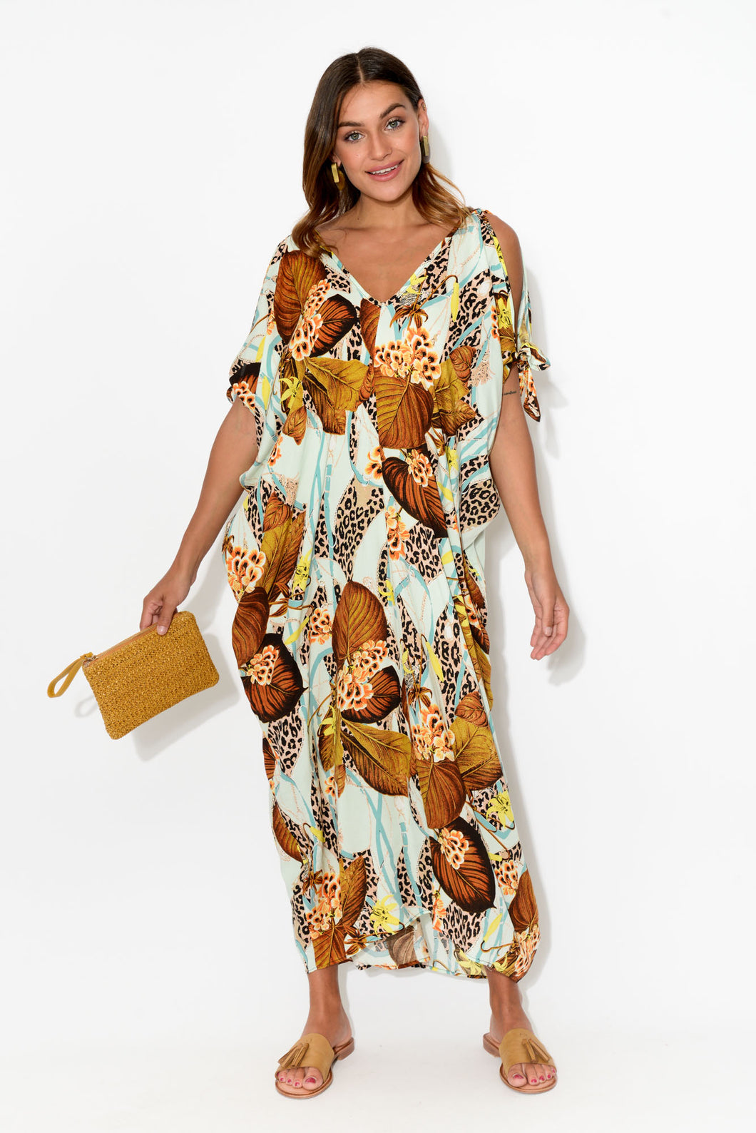 Mustard Tropical Leopard Cold Shoulder Kaftan