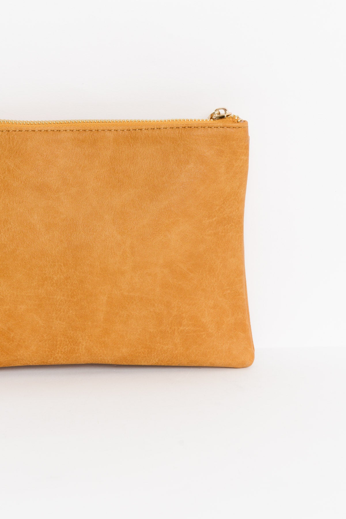 Mustard V Panel Vegan Leather Clutch