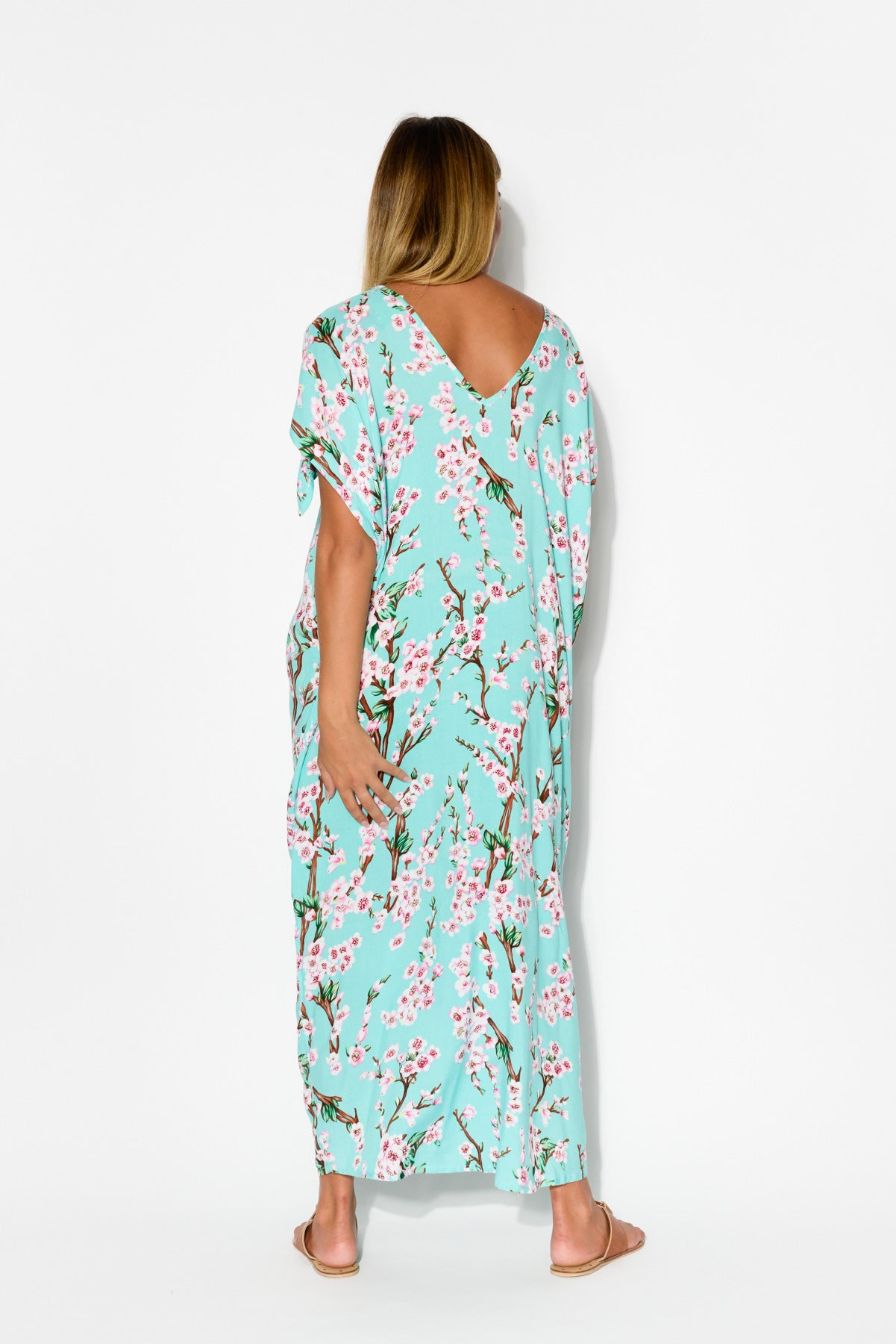Mykonos Aqua Floral Cold Shoulder Kaftan - Blue Bungalow
