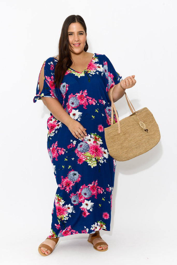 Mykonos Navy Sakura Cold Shoulder Kaftan