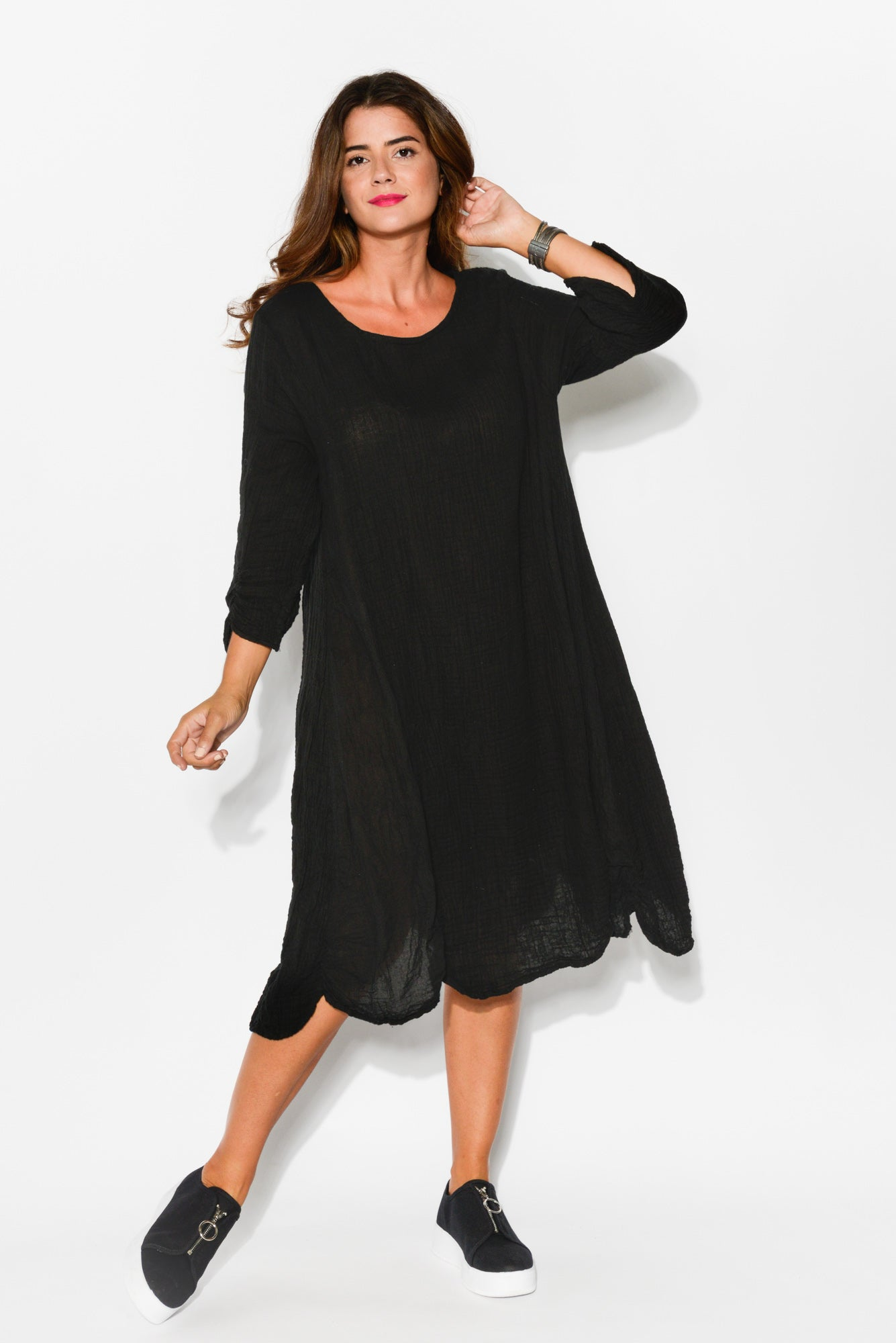 Eden Black Sleeved Crinkle Cotton Dress - Blue Bungalow