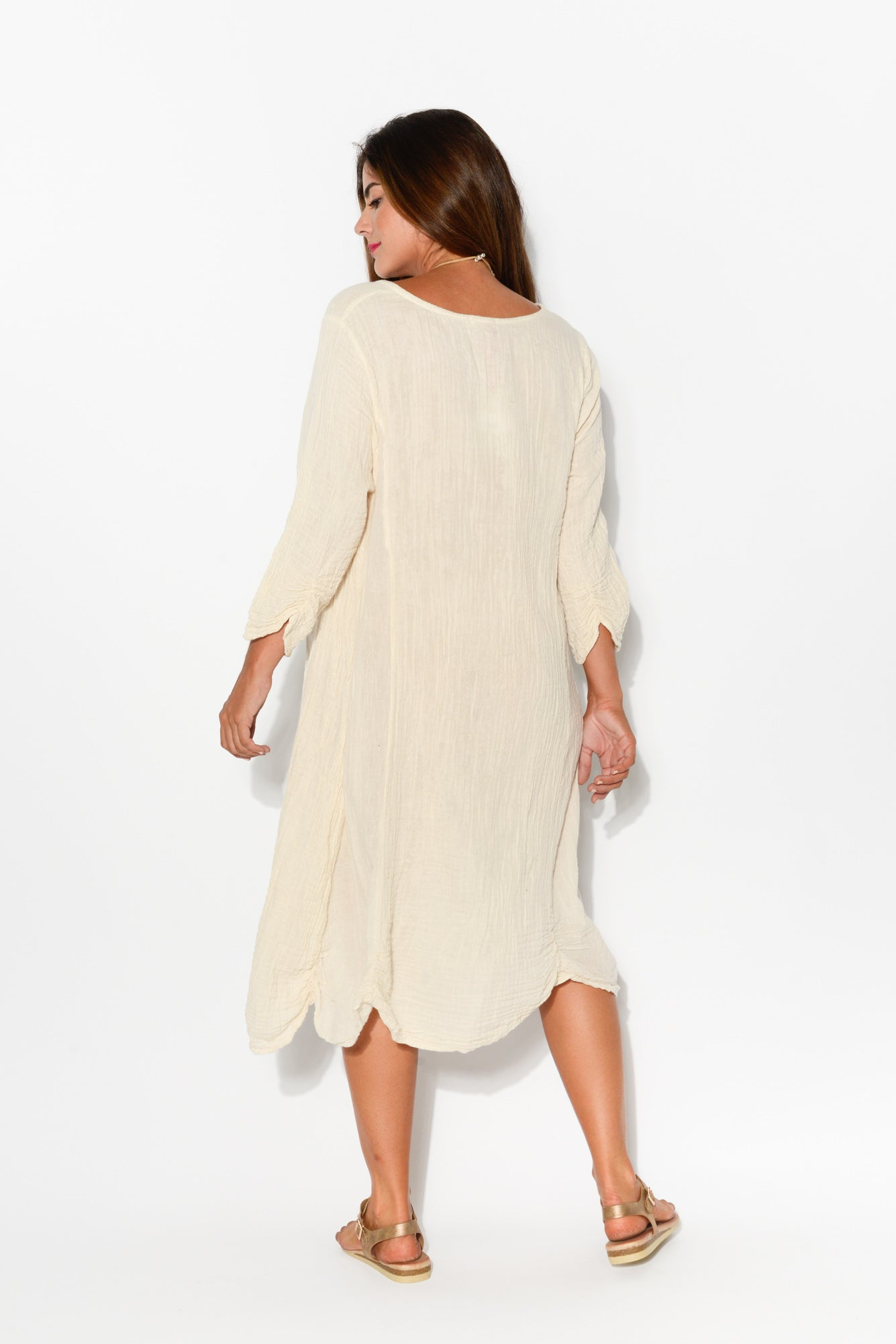 Eden Natural Sleeved Crinkle Cotton Dress - Blue Bungalow