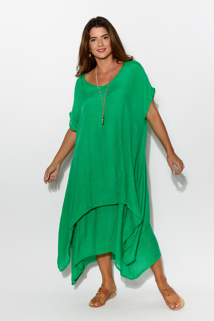 Green Tiered Cotton Dress