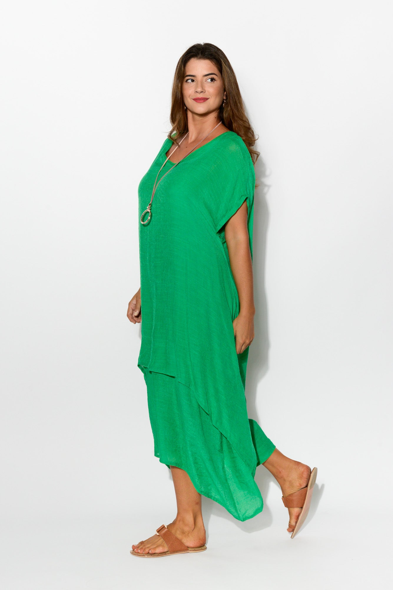 Green Tiered Cotton Dress - Blue Bungalow