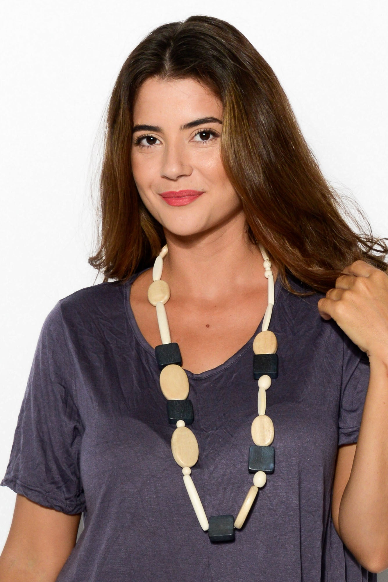 Navy Multi Timber Shapes Necklace - Blue Bungalow