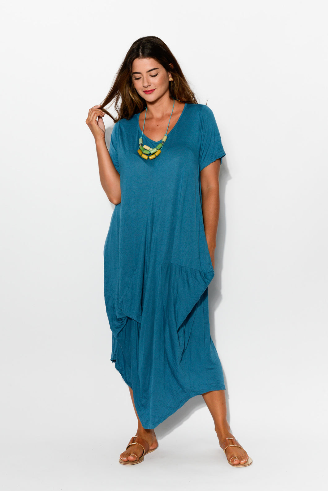 Teal Crinkle Cotton Panel Dress - Blue Bungalow