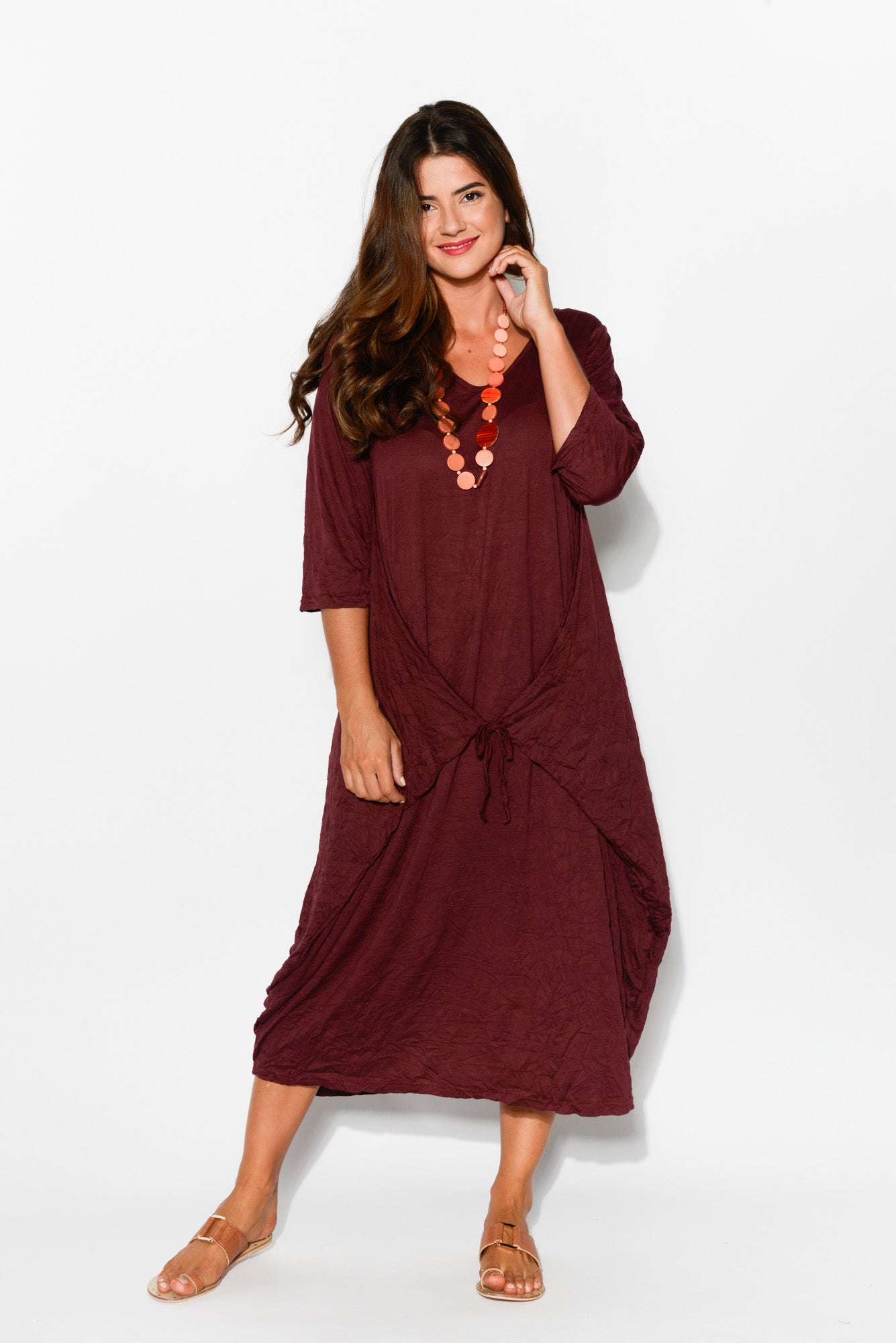 Burgundy Sleeved Cotton Side Tie Dress - Blue Bungalow