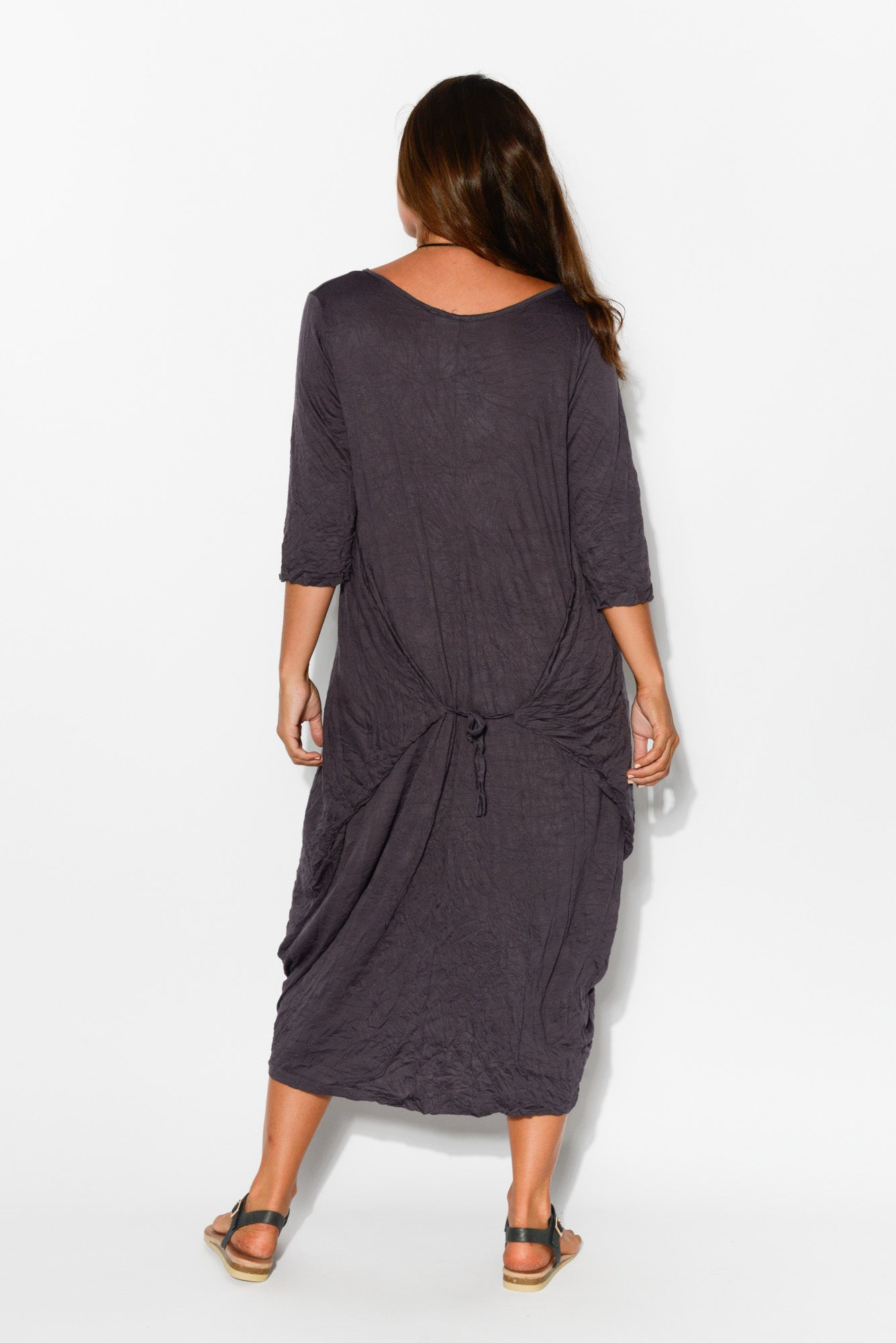 Ink Sleeved Cotton Side Tie Dress - Blue Bungalow