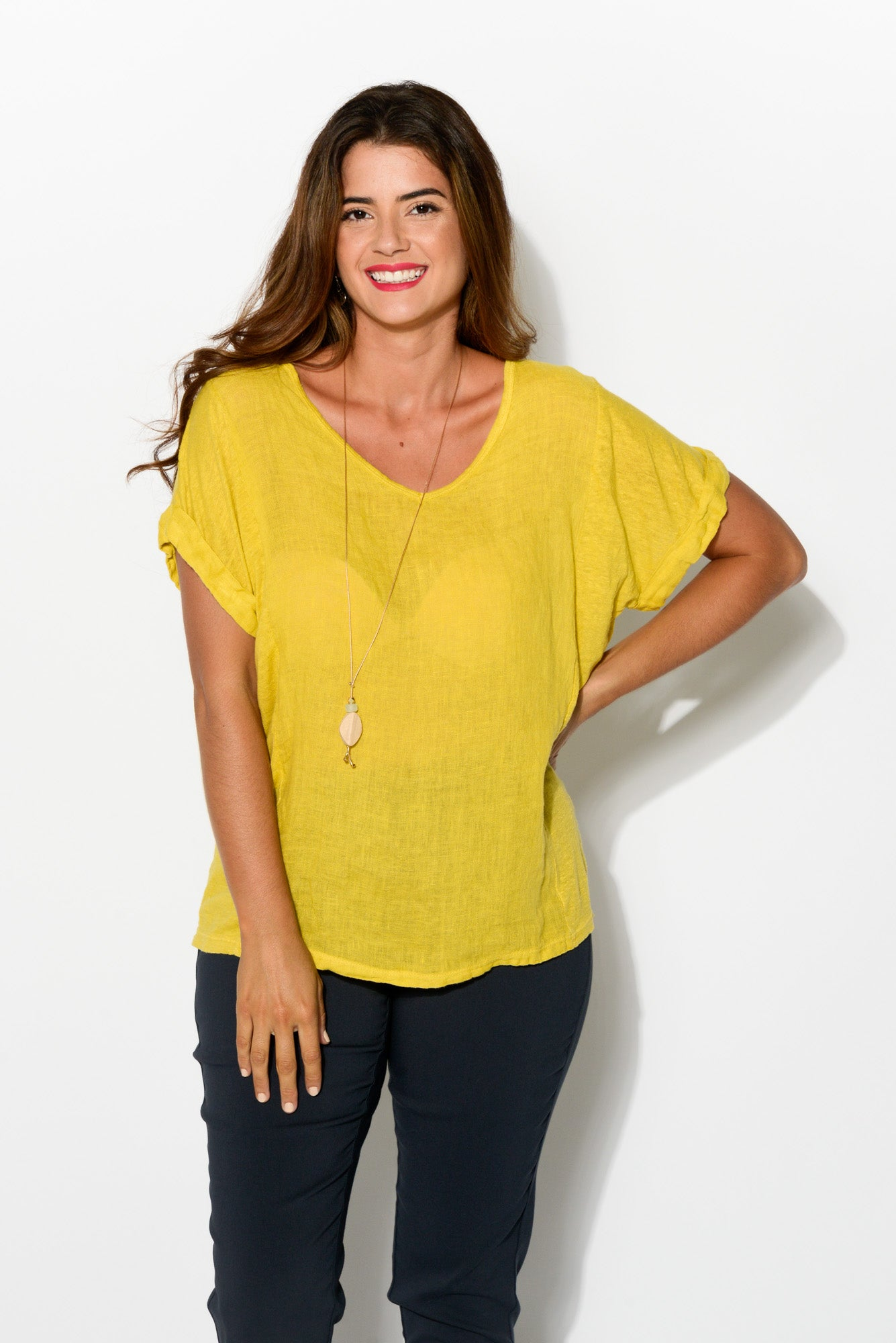 Anna Yellow Linen Tee - Blue Bungalow