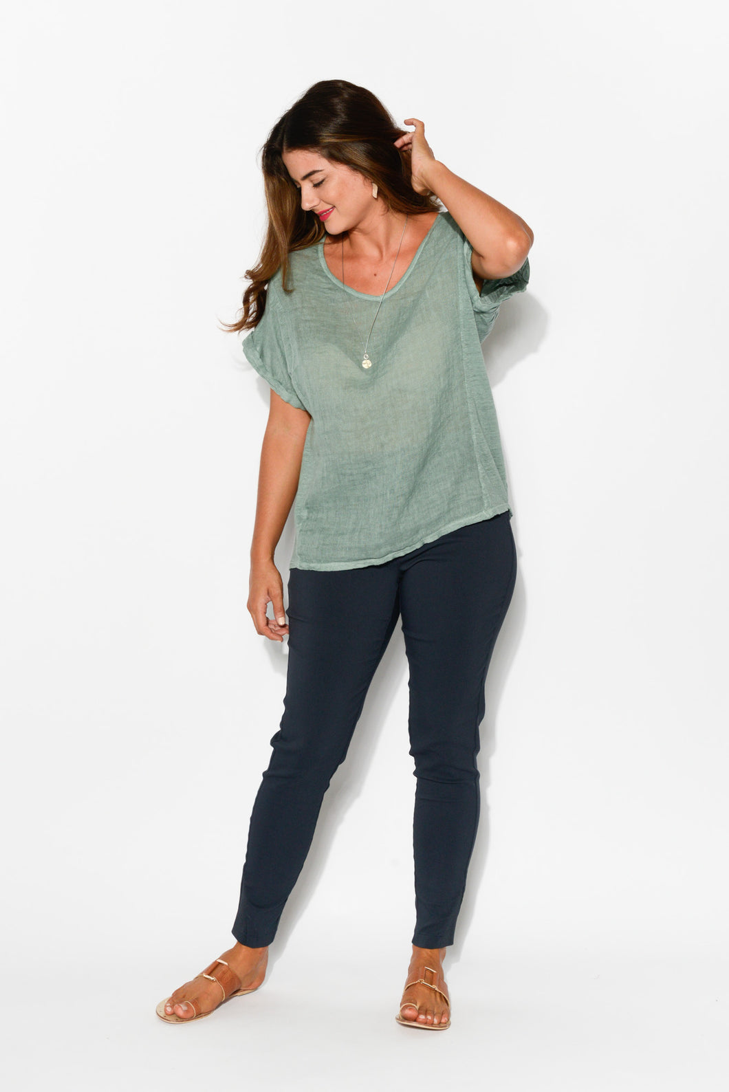 Anna Sea Green Linen Tee - Blue Bungalow